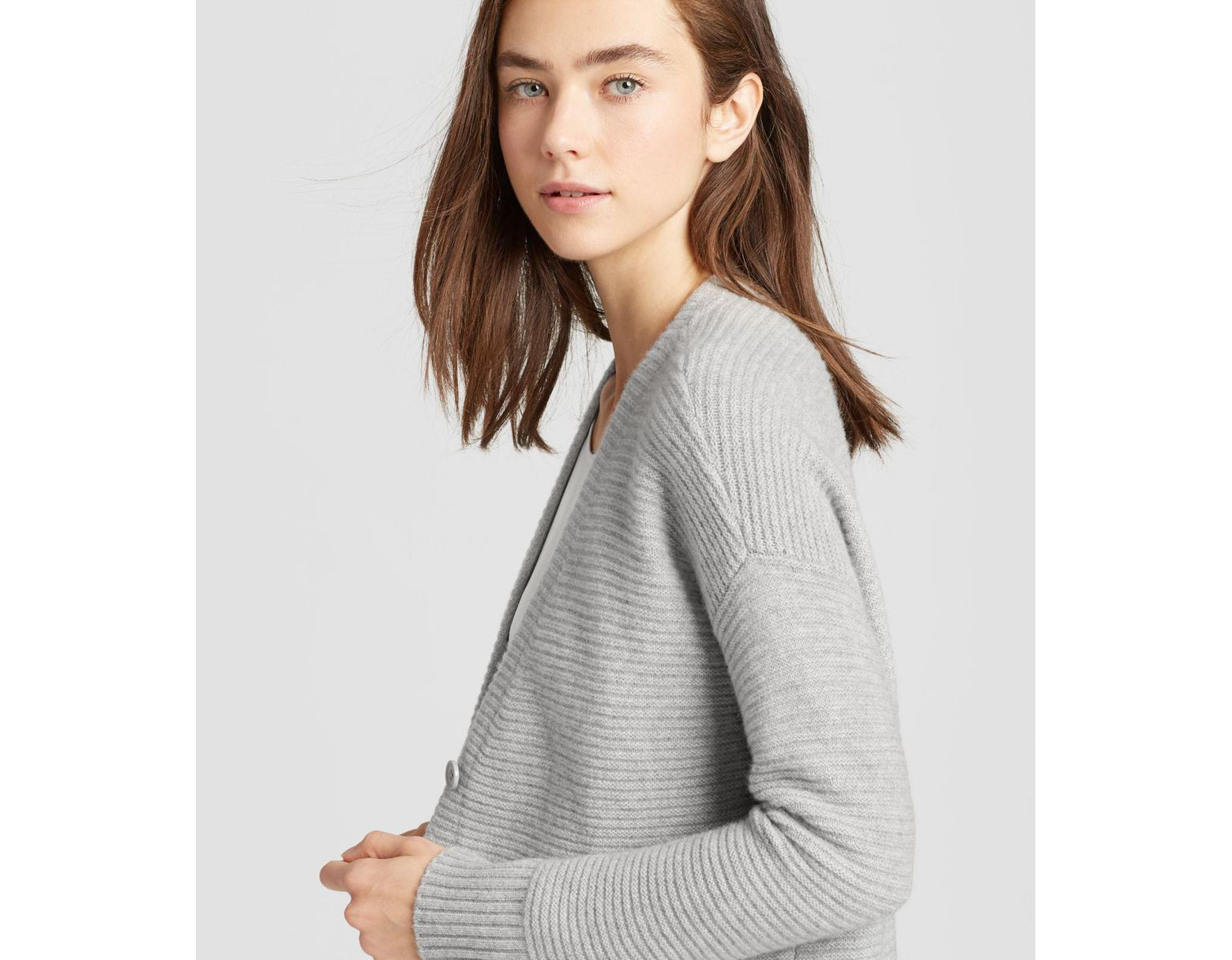 9c734041f9720 Eileen Fisher Lofty Recycled Cashmere Cardigan in Gray - Lyst