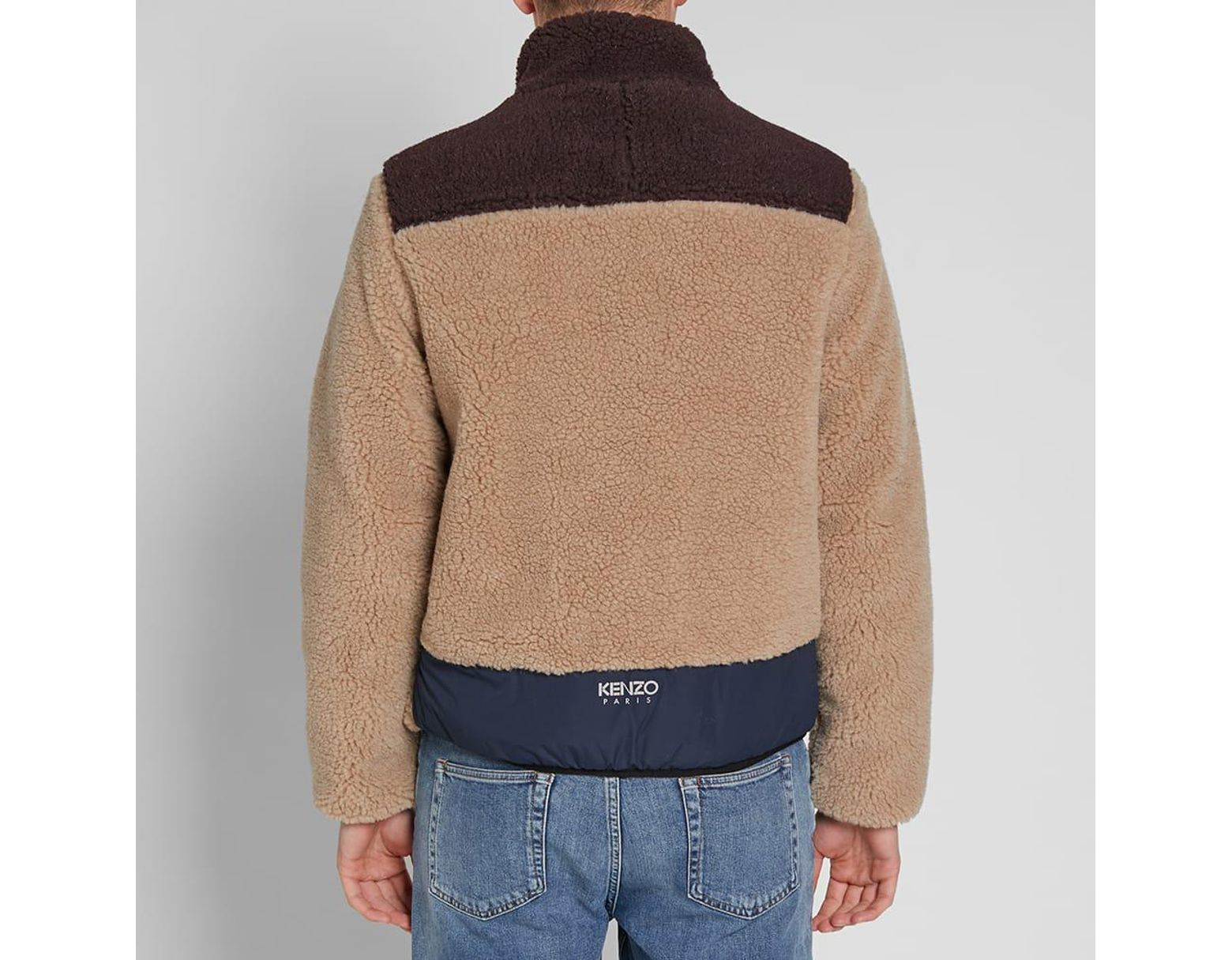 6d2fb140ea KENZO Shearling Down Jacket in Brown for Men - Lyst
