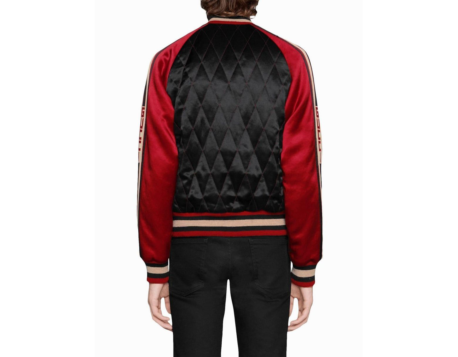 4e3bbdce4 Gucci Reversible Acetate Bomber Jacket in Red for Men - Save 23% - Lyst