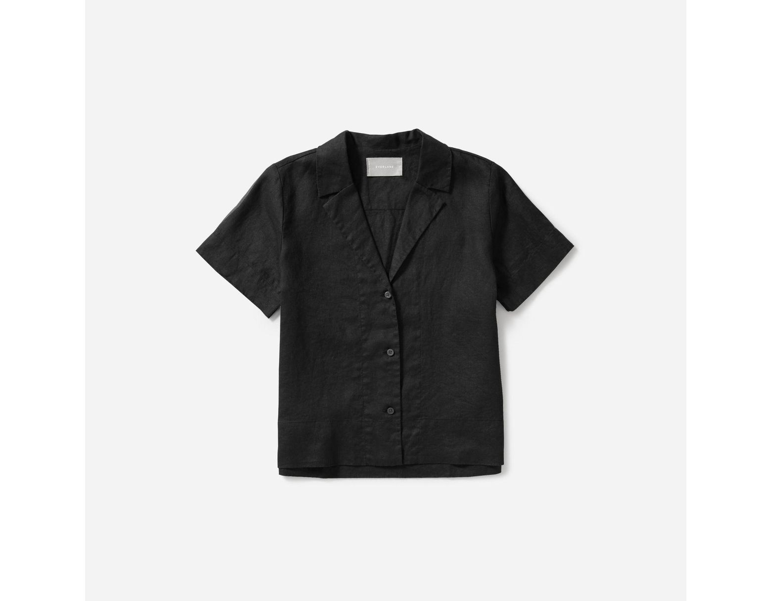aaae06316ef3a8 Everlane The Linen Notch Short-sleeve Shirt in Black - Lyst
