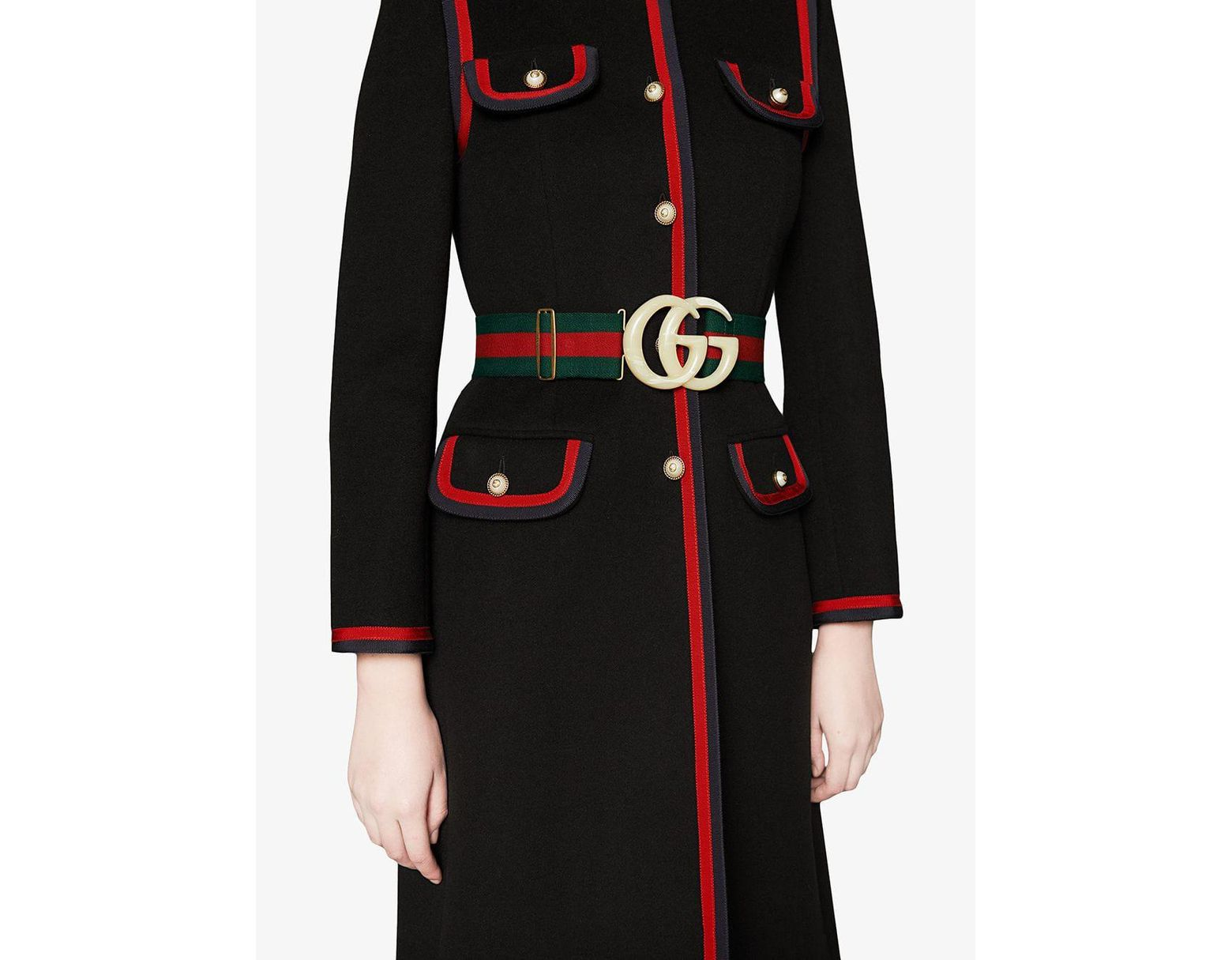 6cd218f9f46 Lyst - Gucci Web Elastic Belt With Embellished GG in Green - Save 43%