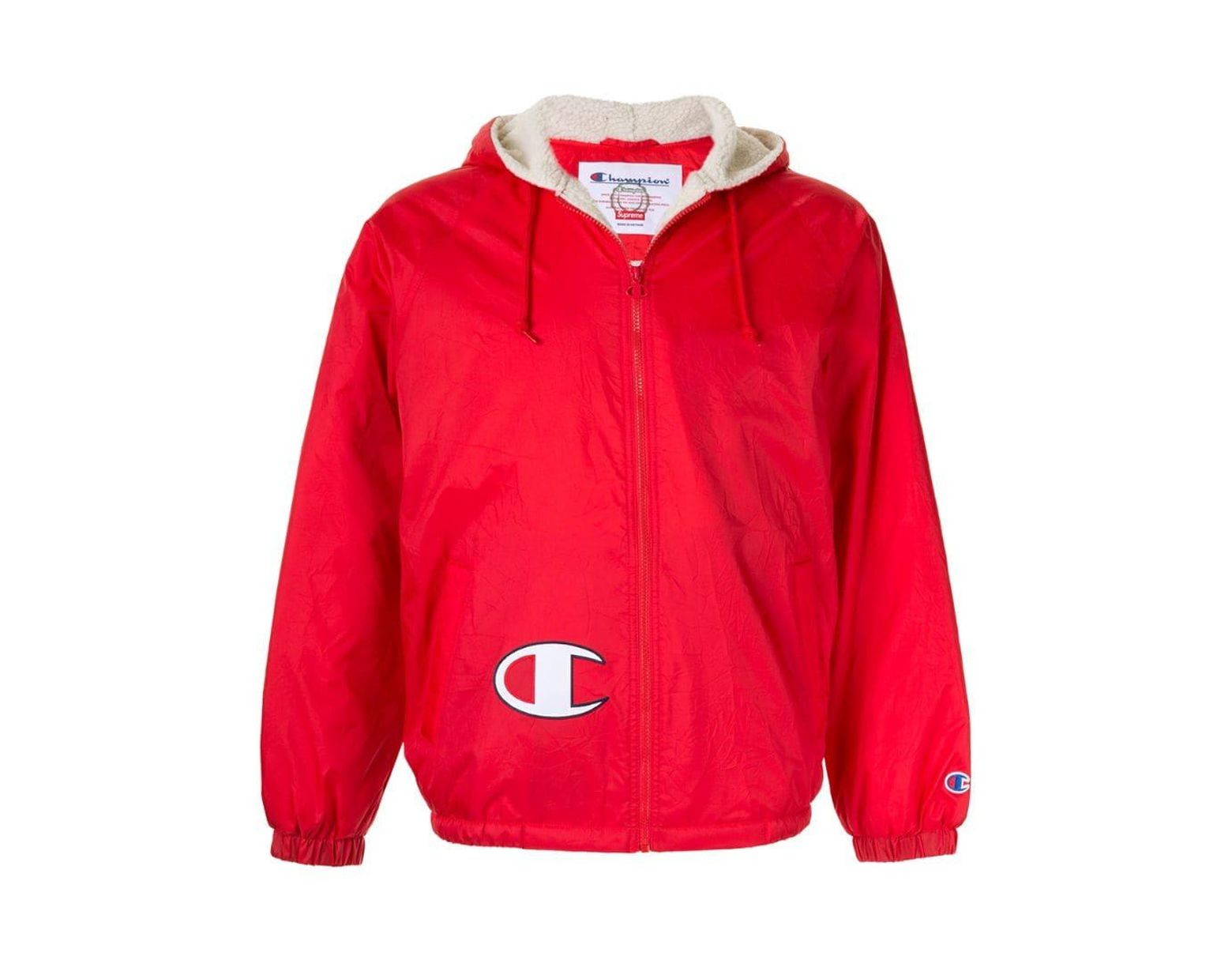 48965b7b Supreme Champion Sherpa Lined Hooded Jacket Fw17 in Red for Men - Lyst