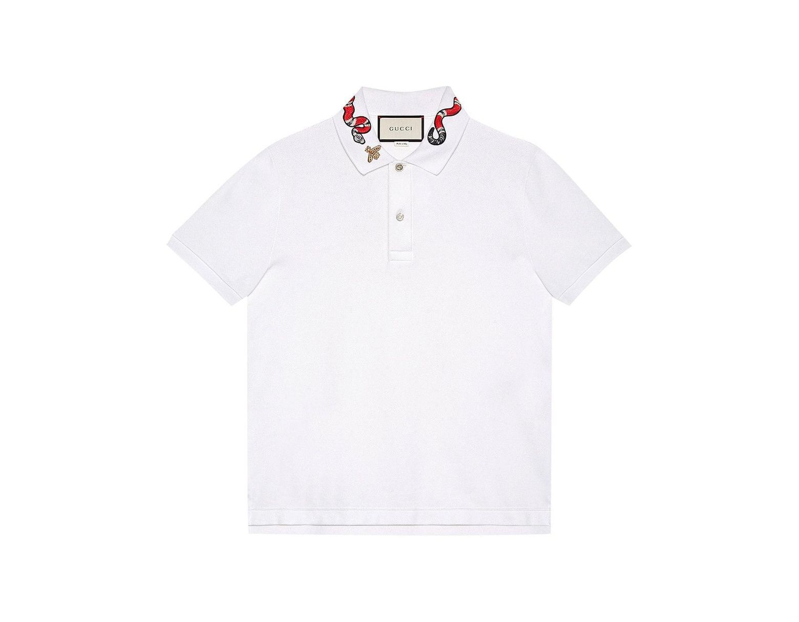 b0915b93d Gucci Kingsnake Embroidered Polo Shirt in White for Men - Save 7% - Lyst