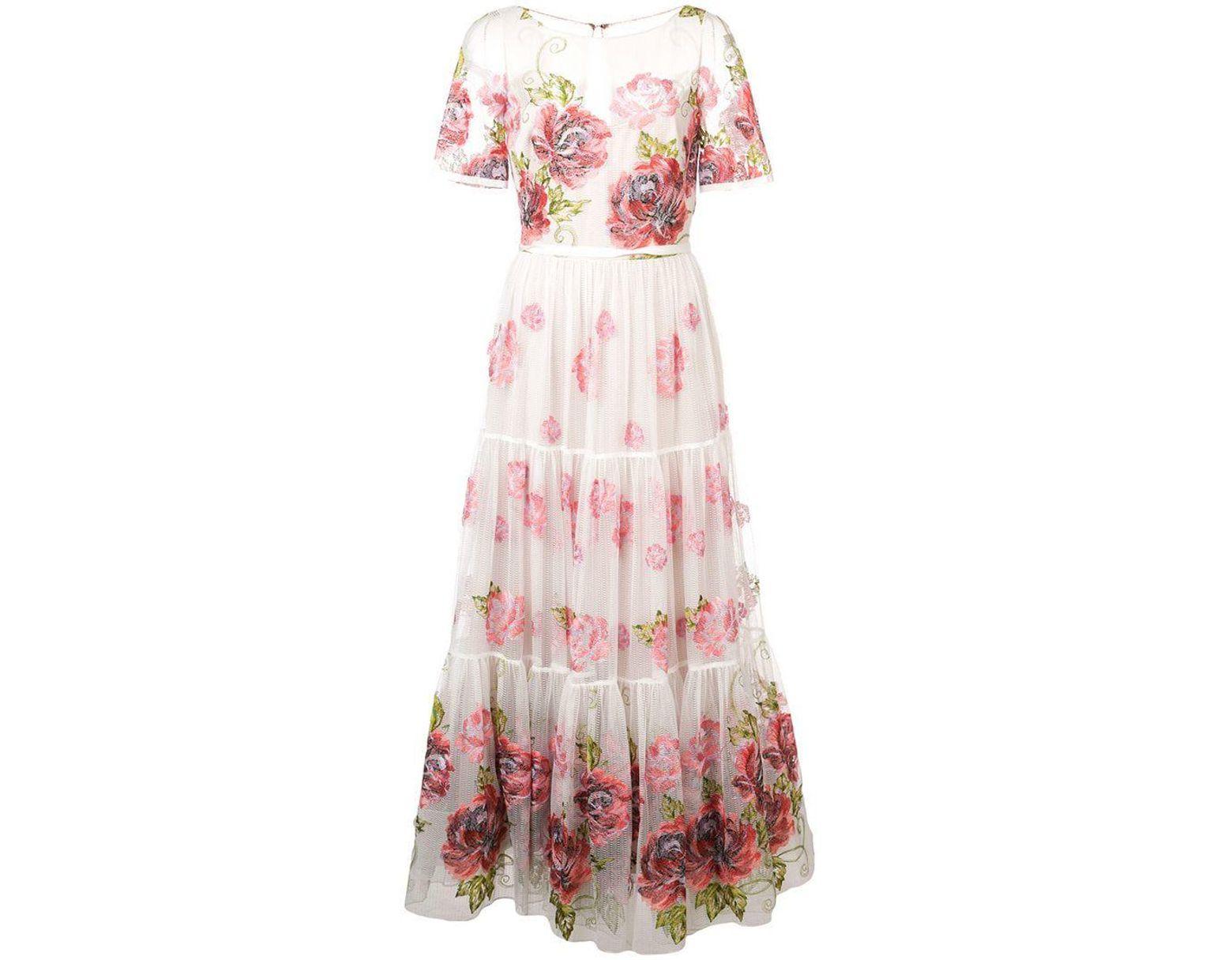 3af078102355 Marchesa notte Floral Print Long Dress in White - Lyst