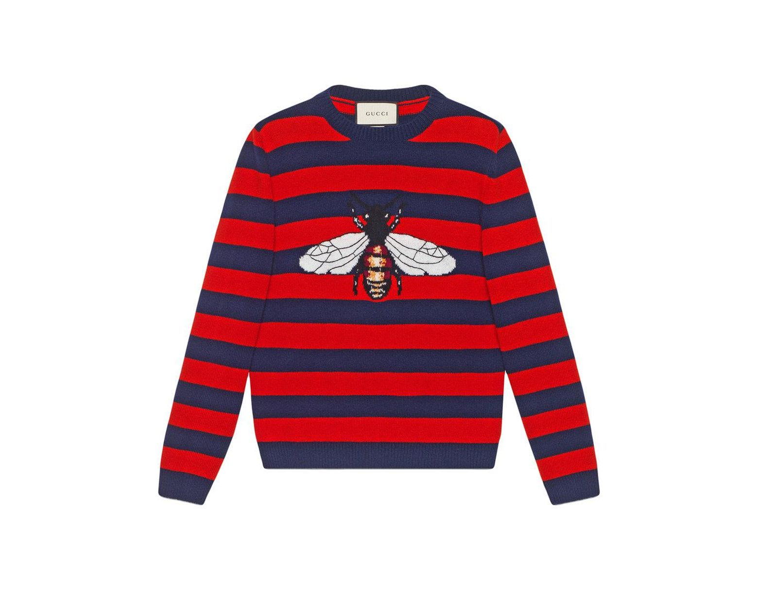 f9c43fd9c Gucci Striped Wool Sweater With Bee in Blue for Men - Lyst