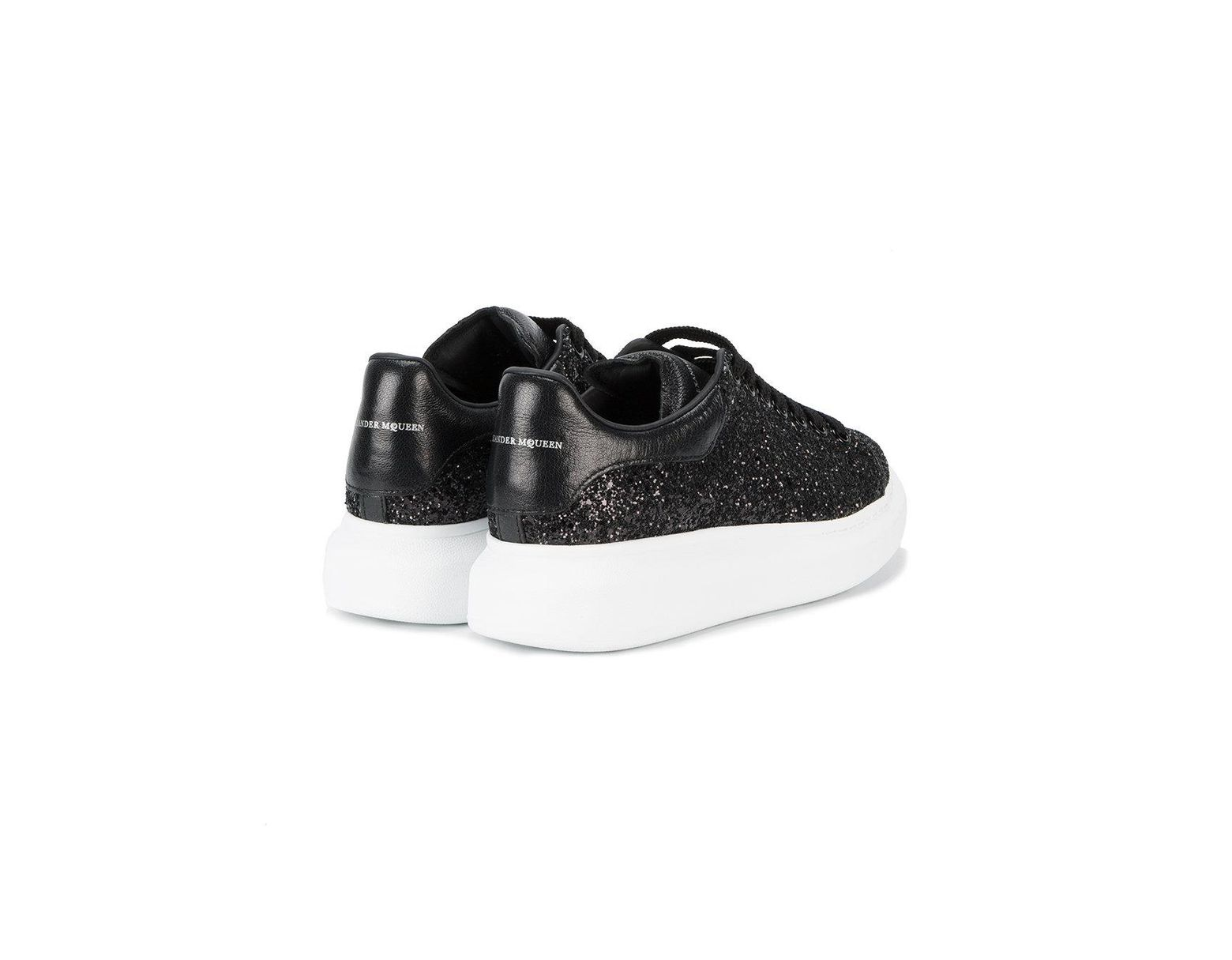 37124d054696 Alexander McQueen Black Glitter Platform Sneakers in Black - Save 15% - Lyst