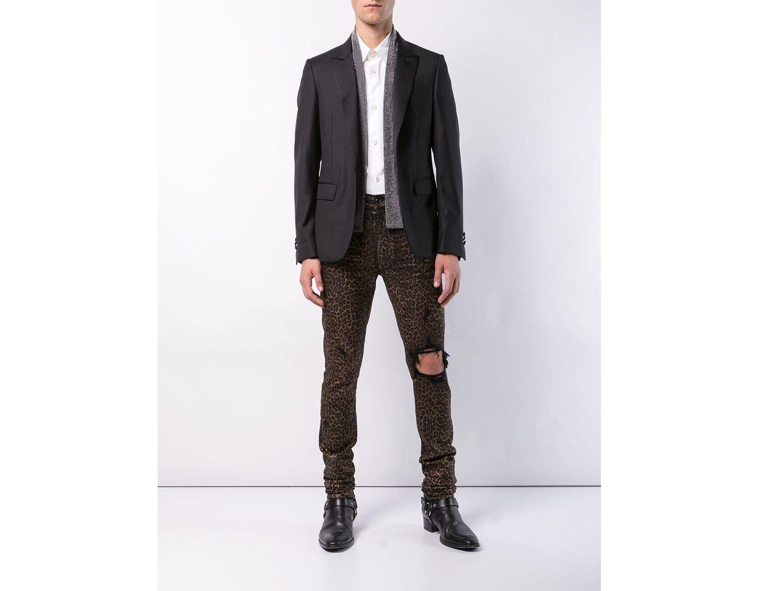 b48cda37868e Amiri Leopard Print Jeans in Black for Men - Lyst