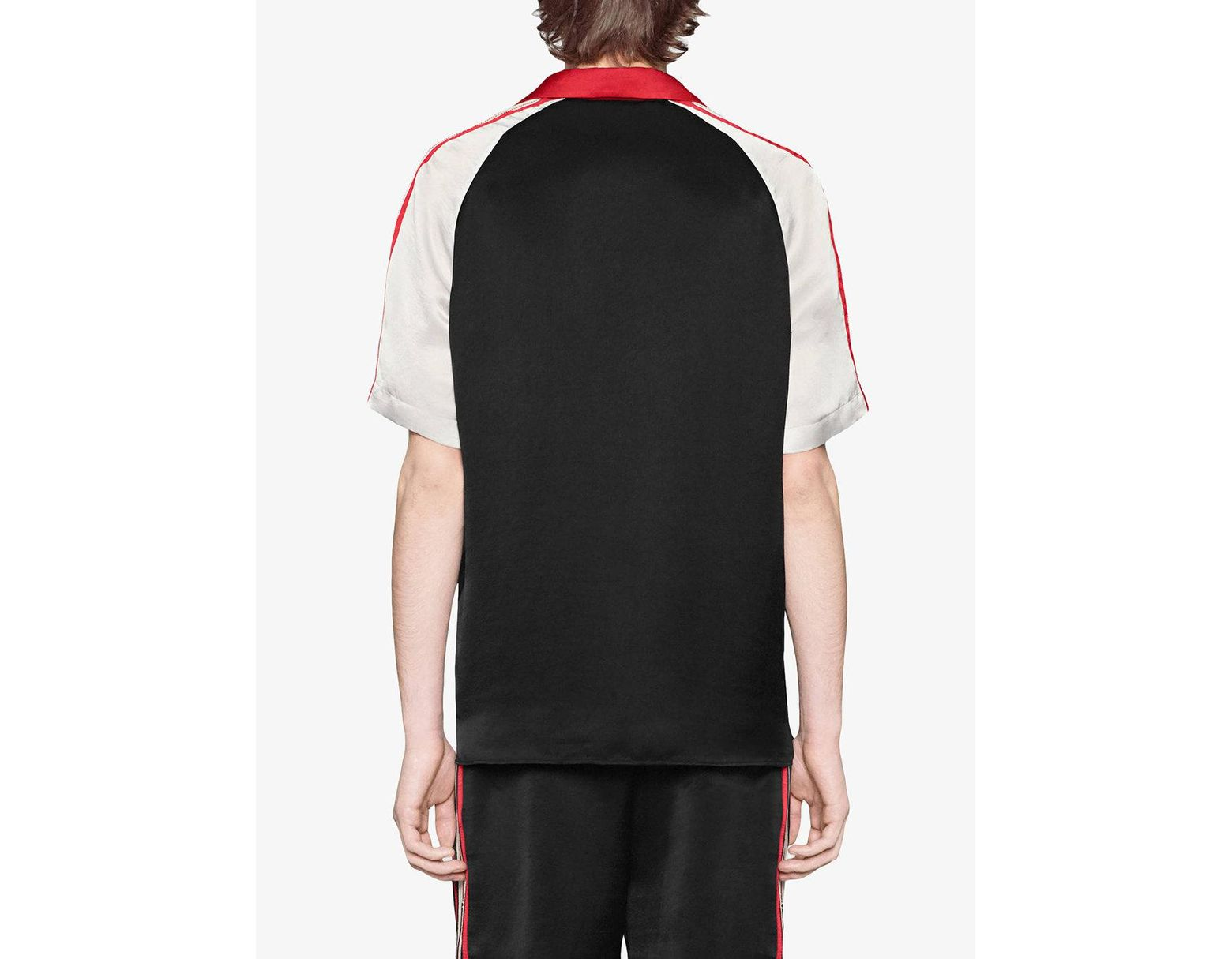 5ebadd19a8bd Gucci Acetate Bowling Shirt With Stripe in Black for Men - Lyst
