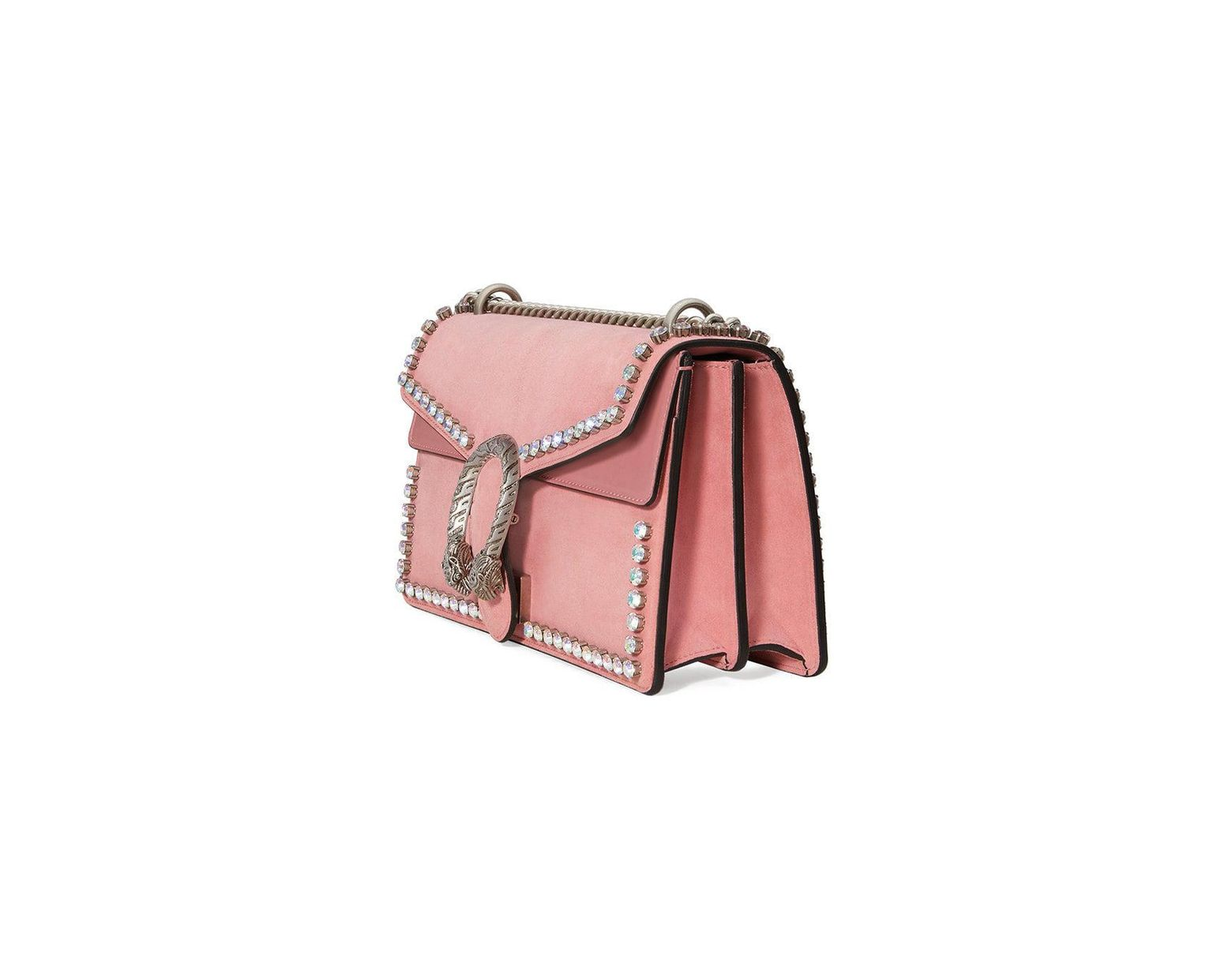 9ff7f0ceefab83 Gucci Dionysus Suede Shoulder Bag With Crystals in Pink - Save 10% - Lyst