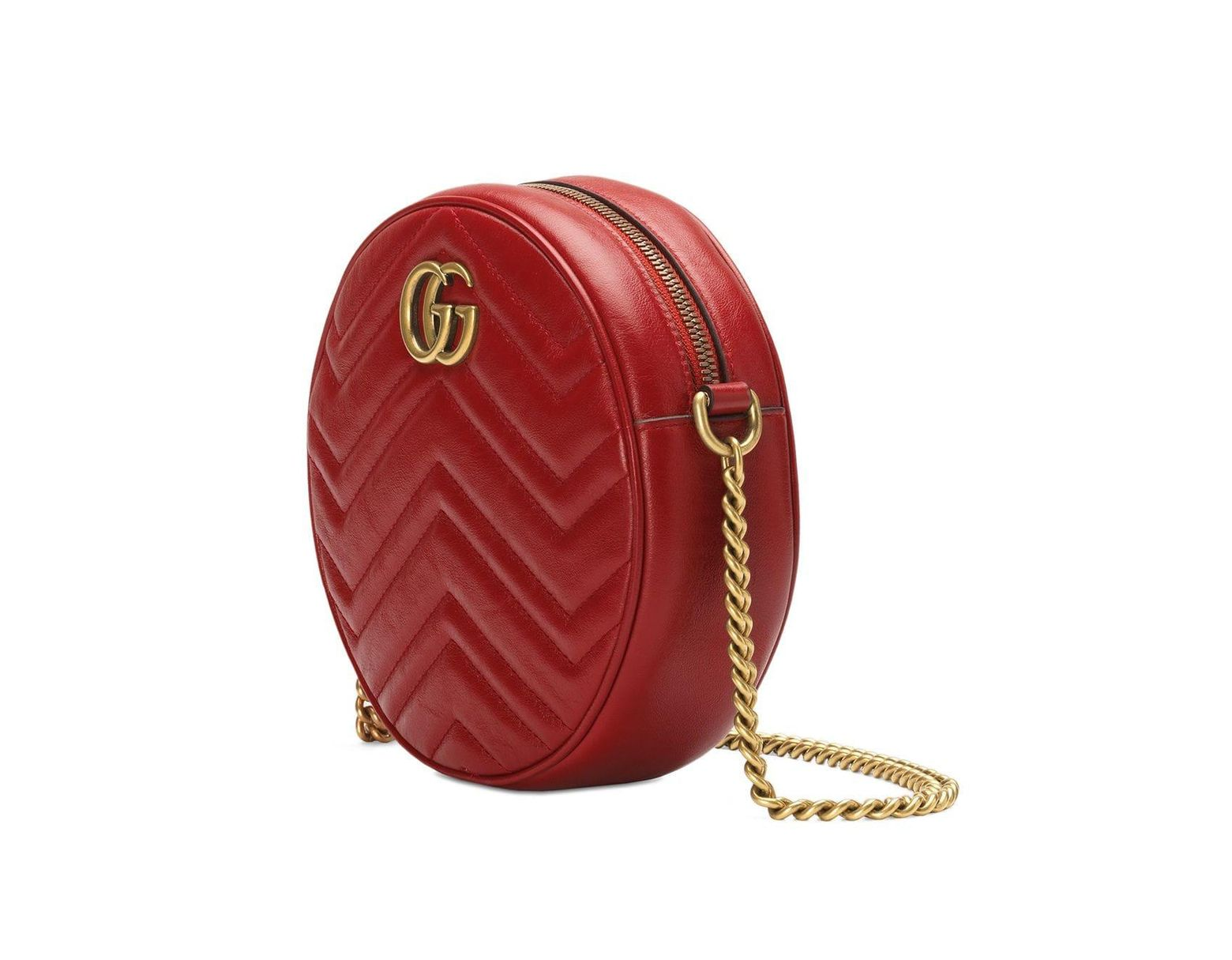 d0d65b4a51cc5c Gucci Women's GG Marmont Mini Round Shoulder Bag - Black in Red - Save 20%  - Lyst