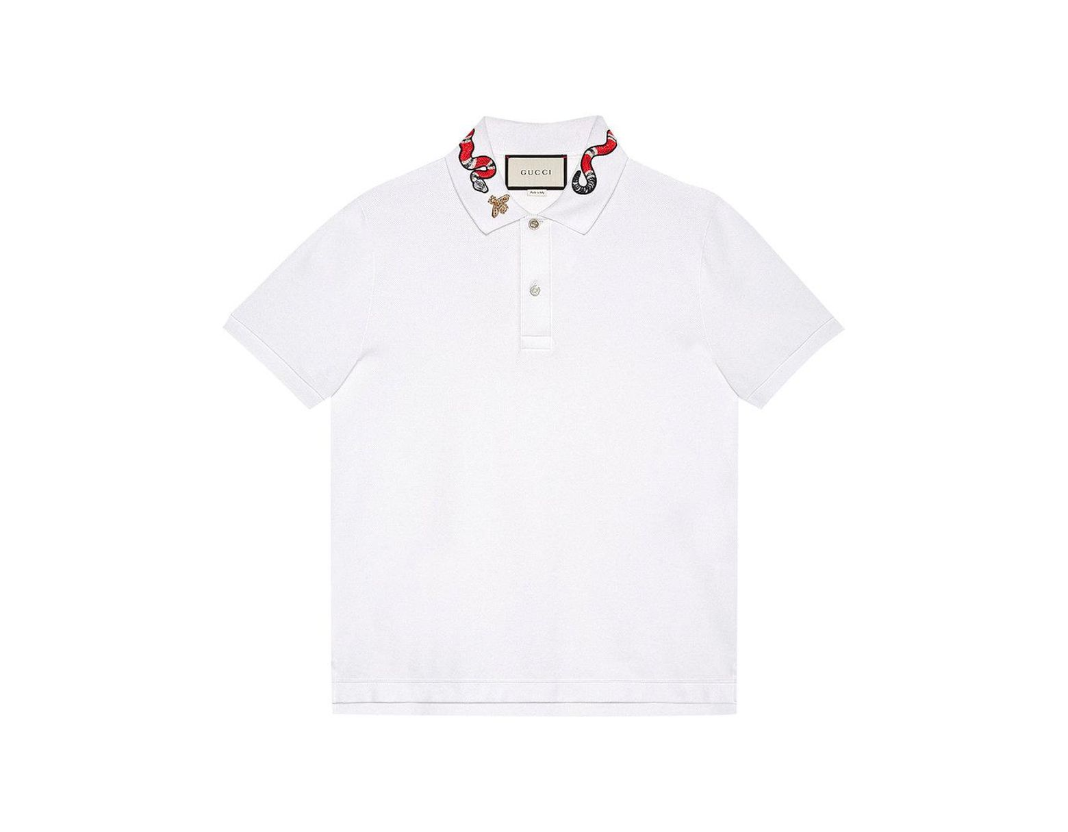 da41aba07 Gucci Kingsnake Embroidered Polo Shirt in White for Men - Save 7% - Lyst