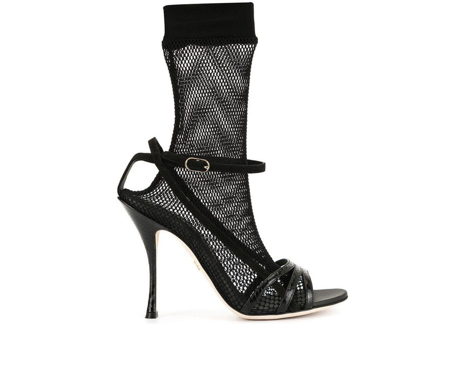 Dolceamp; Black Gabbana Sandals Lyst Sock Fishnet Heeled In nw08OkXNPZ