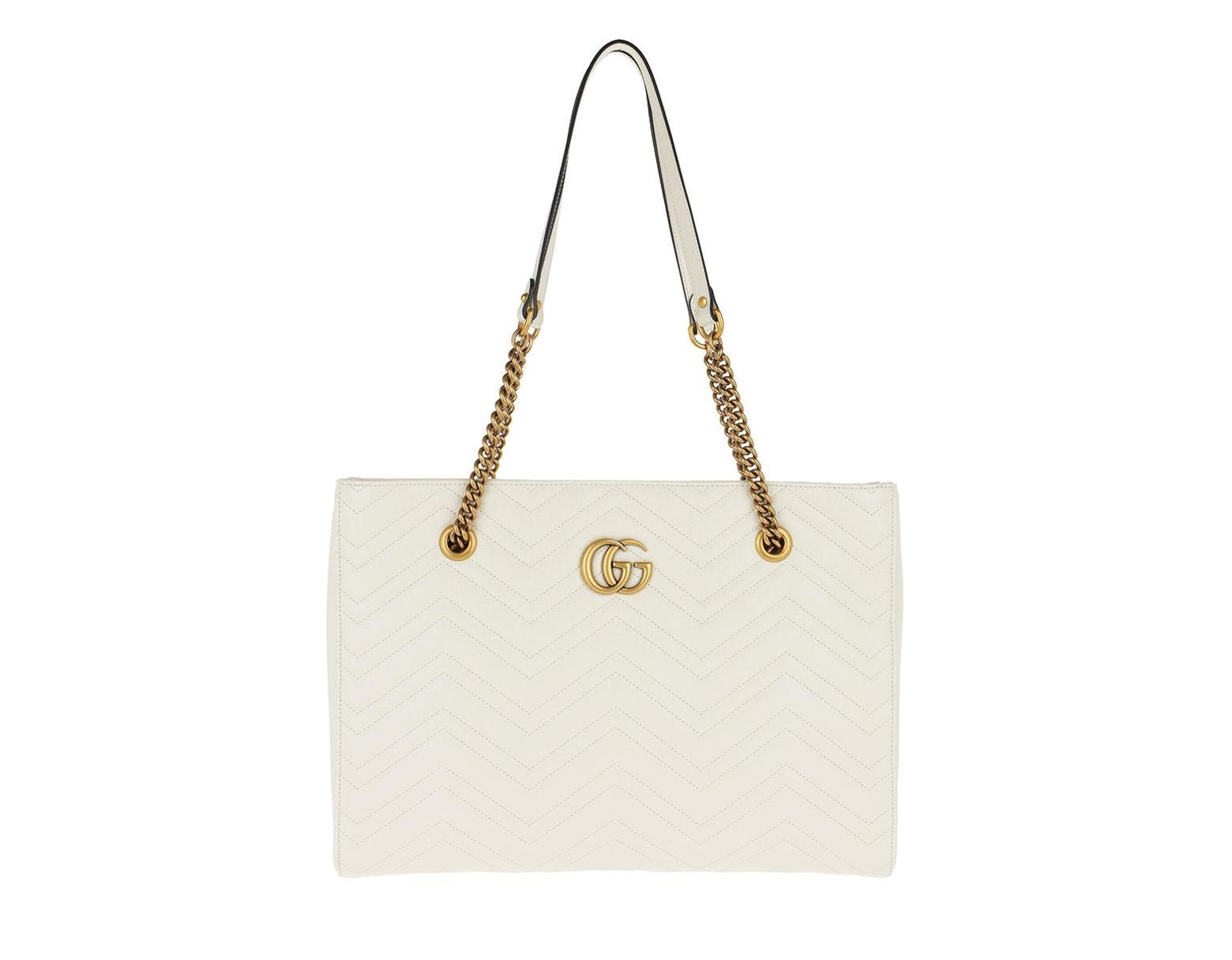 72d4ccd05f20 Gucci GG Marmont Matelassé Medium Tote Leather White in White - Lyst