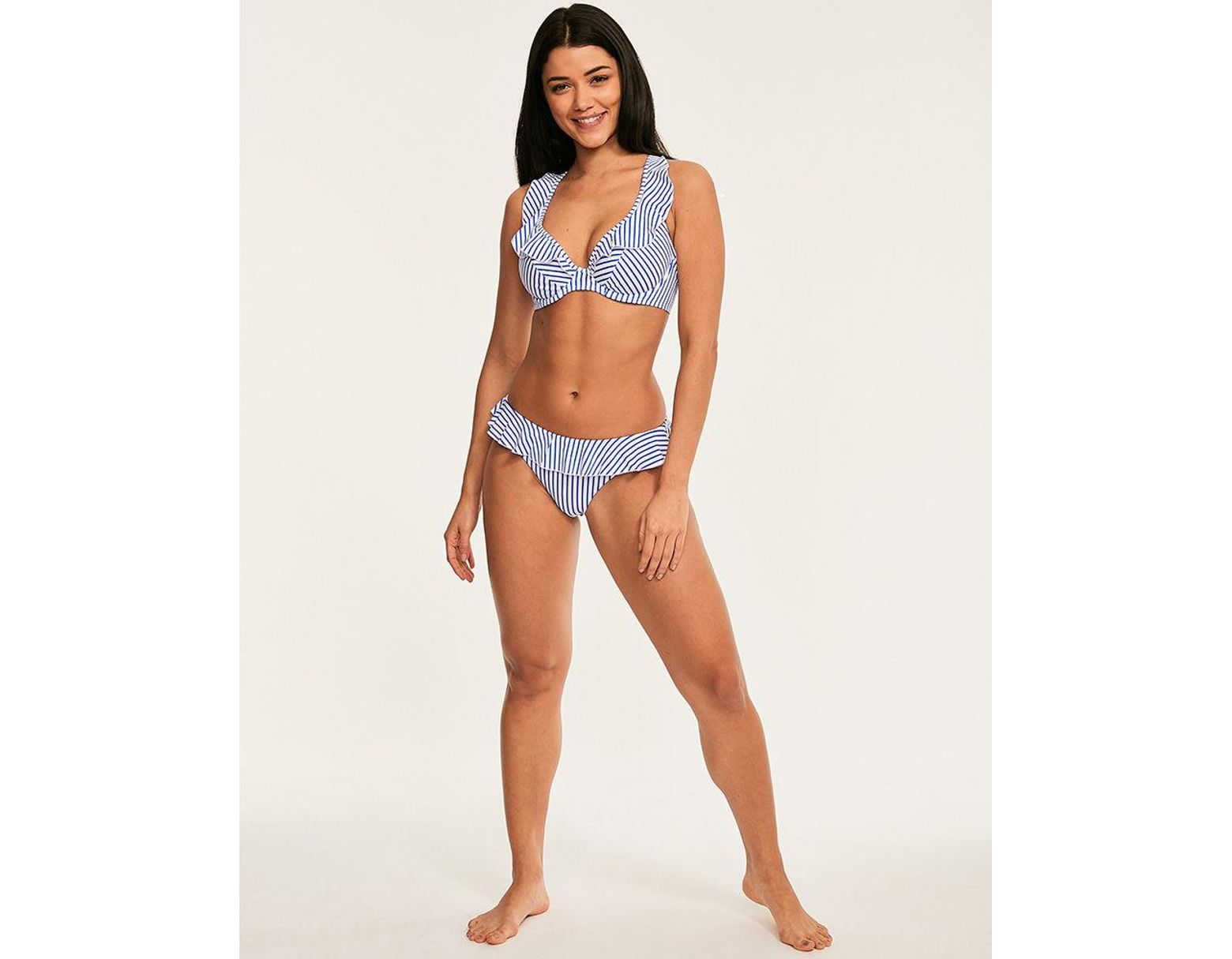 b897f67a0f Freya Totally Stripe Underwired Non Padded High Apex Bikini Top in Blue -  Lyst