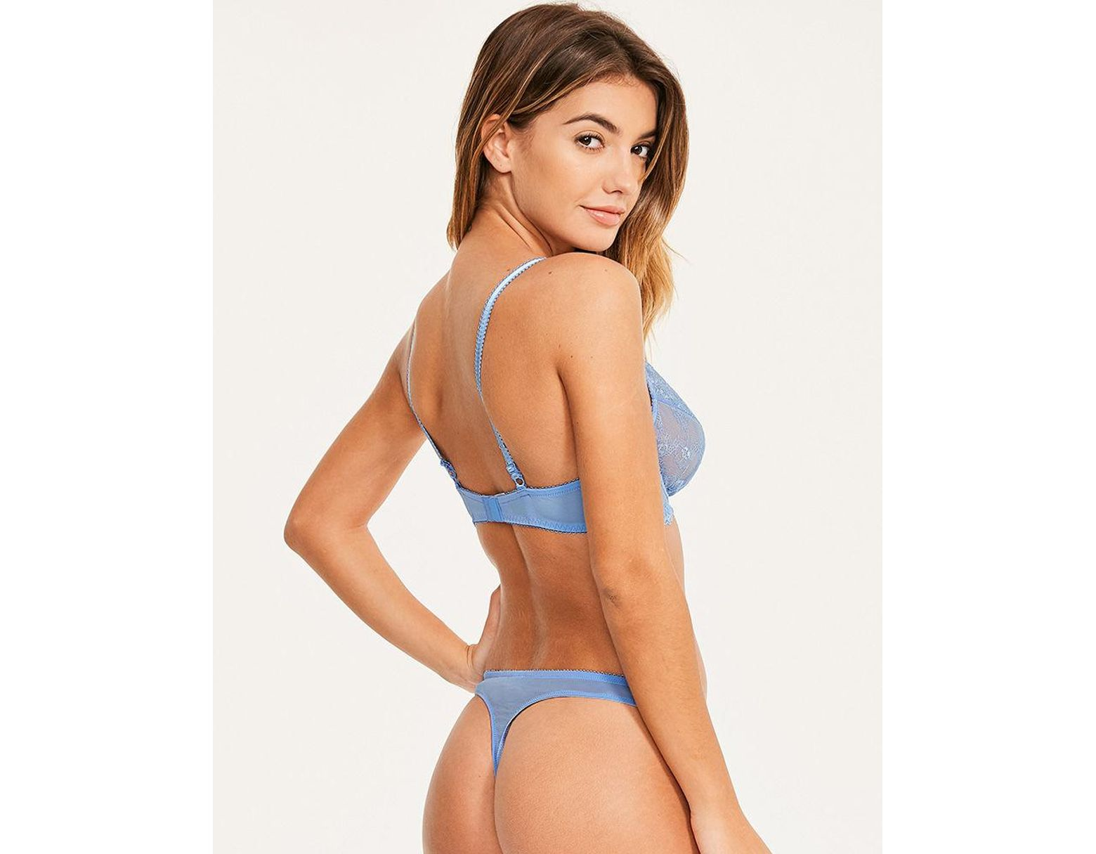a44d20aeb Figleaves Juliette Lace Underwired Non-pad Bra B-GG Cup in Blue - Lyst