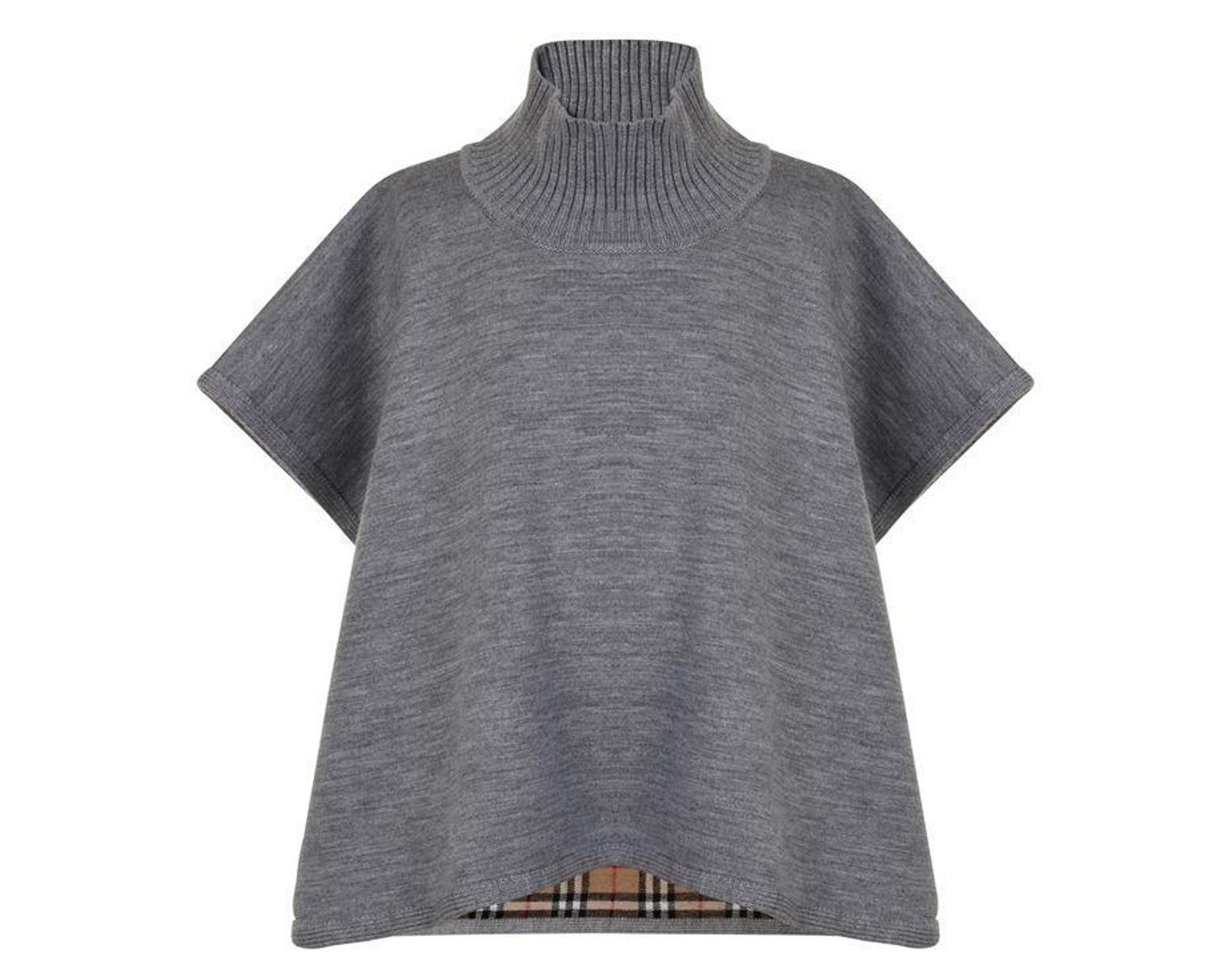 826c05a8d Burberry Children Girls Reversible Vintage Check Merino Poncho in Gray -  Lyst
