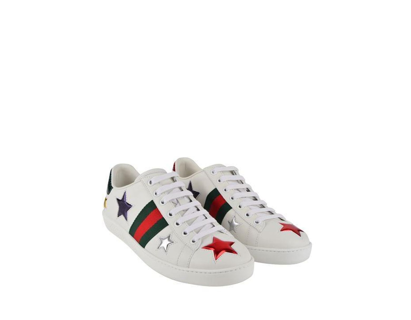 52bc3312e Gucci New Ace Star Patch Trainers in White - Save 21% - Lyst