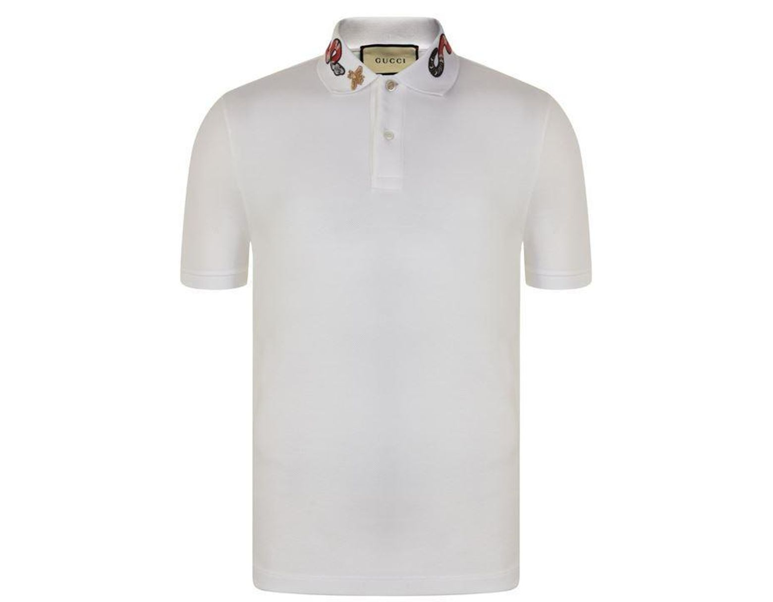 019026c0 Gucci Snake Embroidered Polo Shirt in White for Men - Lyst