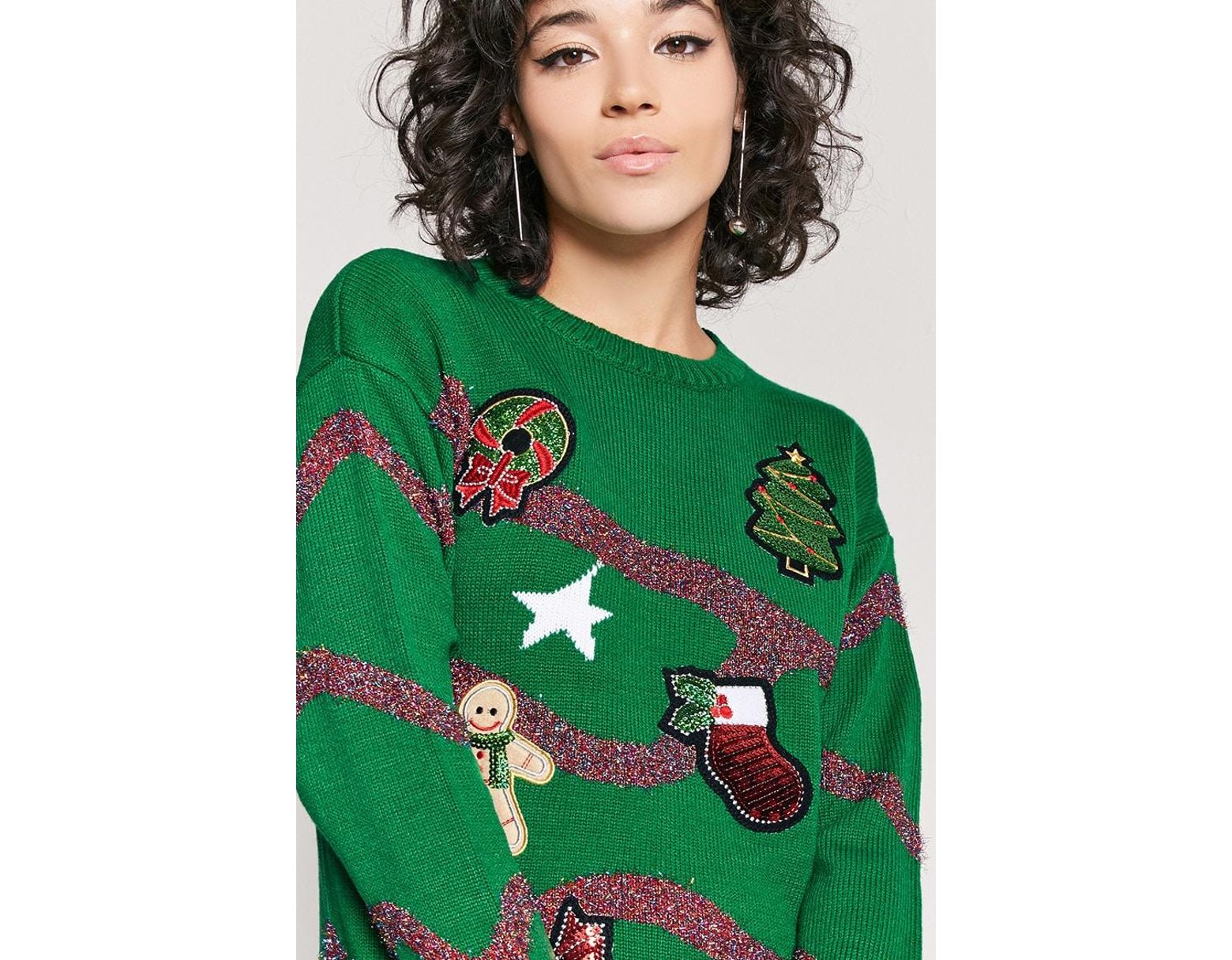 60bec75f43ca5f Forever 21 Metallic Holiday Graphic Sweater in Green - Lyst