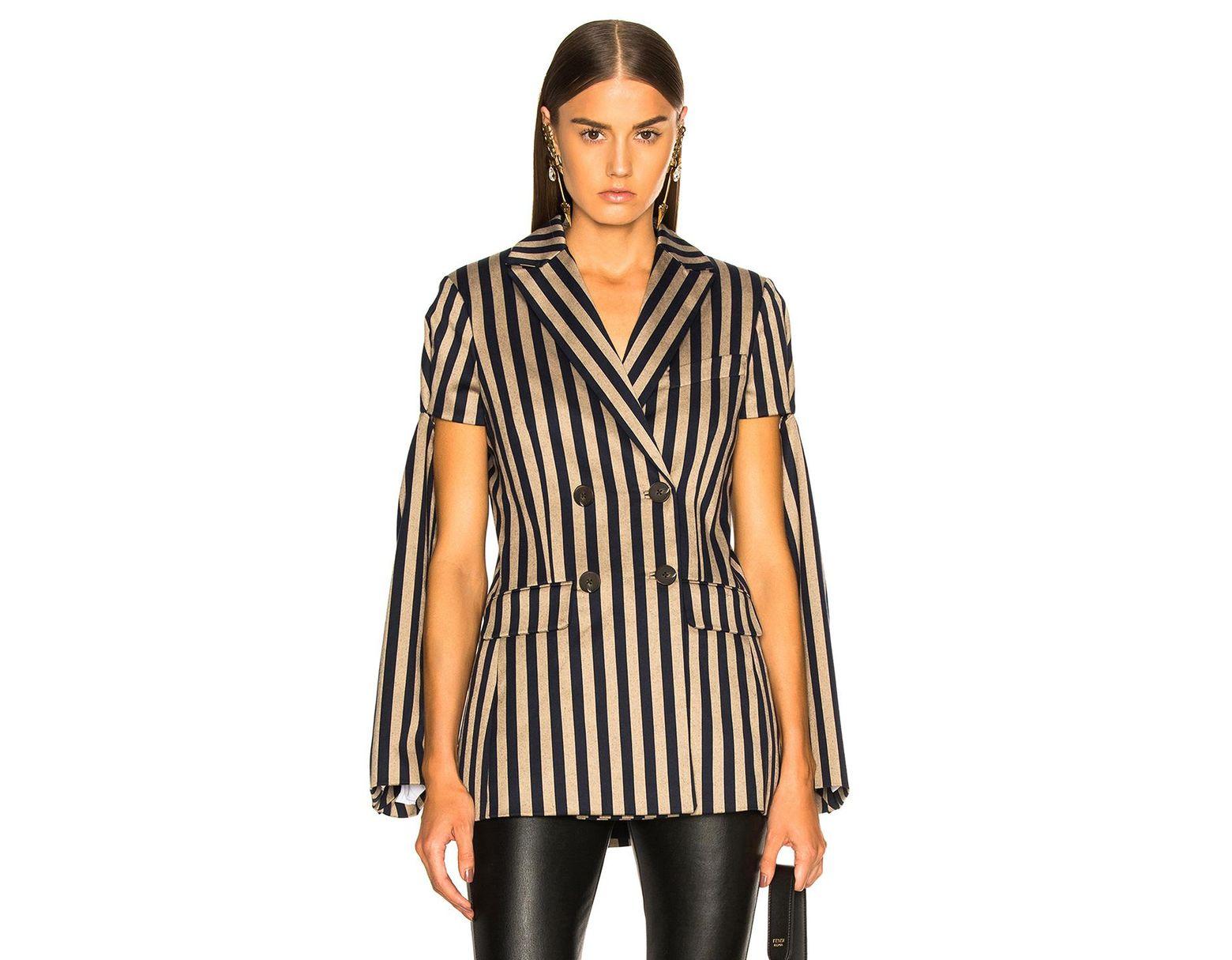 4a34fae4779 Lyst - Jonathan Simkhai Stripe Double Breasted Jacket in Black