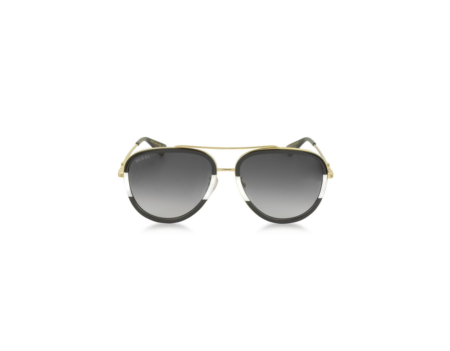 df78c09f719 Lyst - Gucci GG0062S 006 Black white Acetate And Gold Metal Aviator Women s  Sunglasses in Metallic