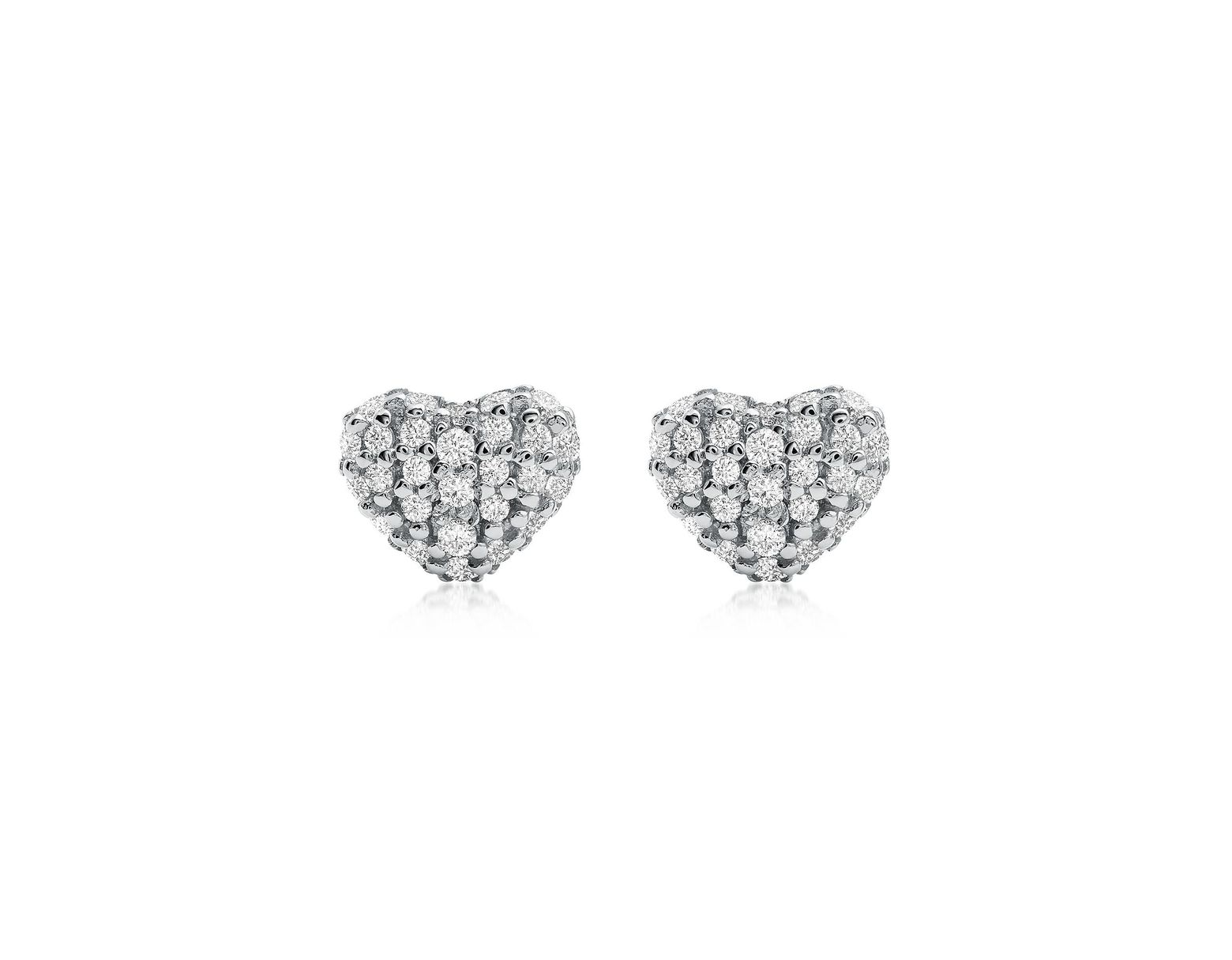 6701f87c6 Michael Kors Heart Rhodium Plated Sterling Silver Pavé Studs in Metallic -  Lyst