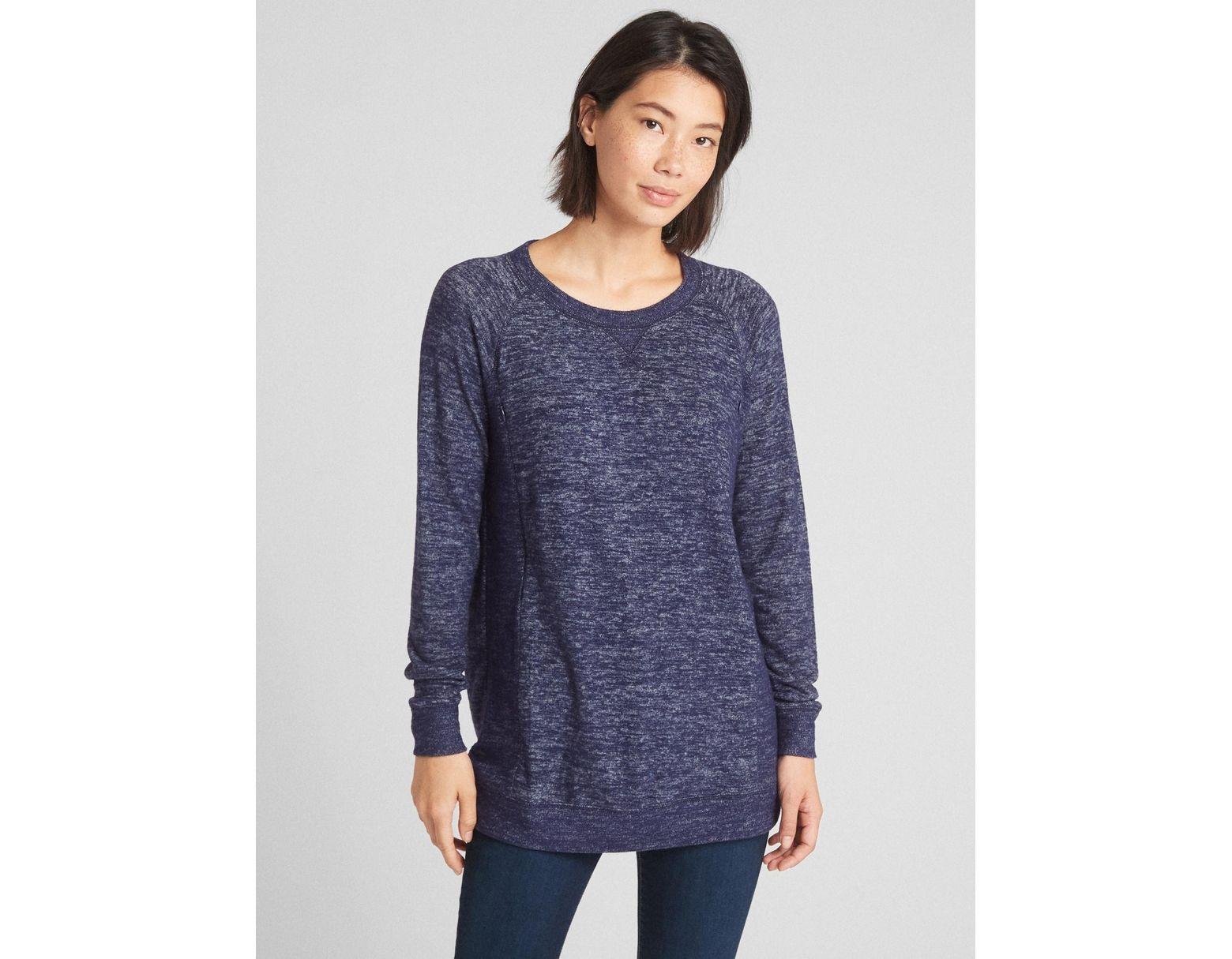 c39589c923c1e Gap Maternity Marled Nursing Pullover Sweatshirt in Blue - Lyst