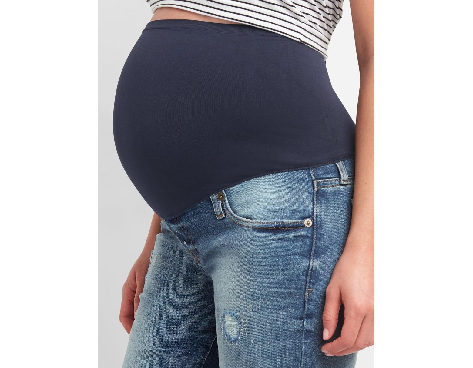 0b70afbed60c8 Lyst - Gap Maternity Full Panel Repaired Best Girlfriend Jeans in Blue