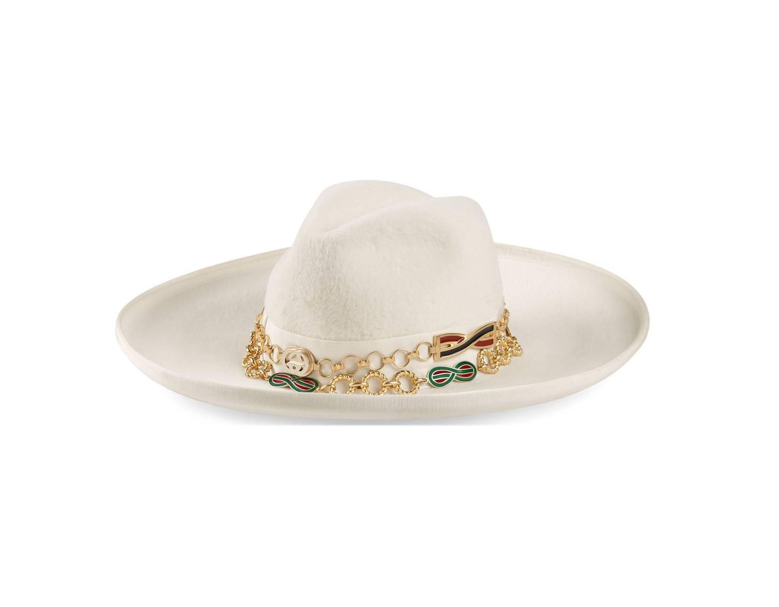80a652c0660bb Gucci Felt Wide-brim Hat With Chain Detail in White for Men - Lyst
