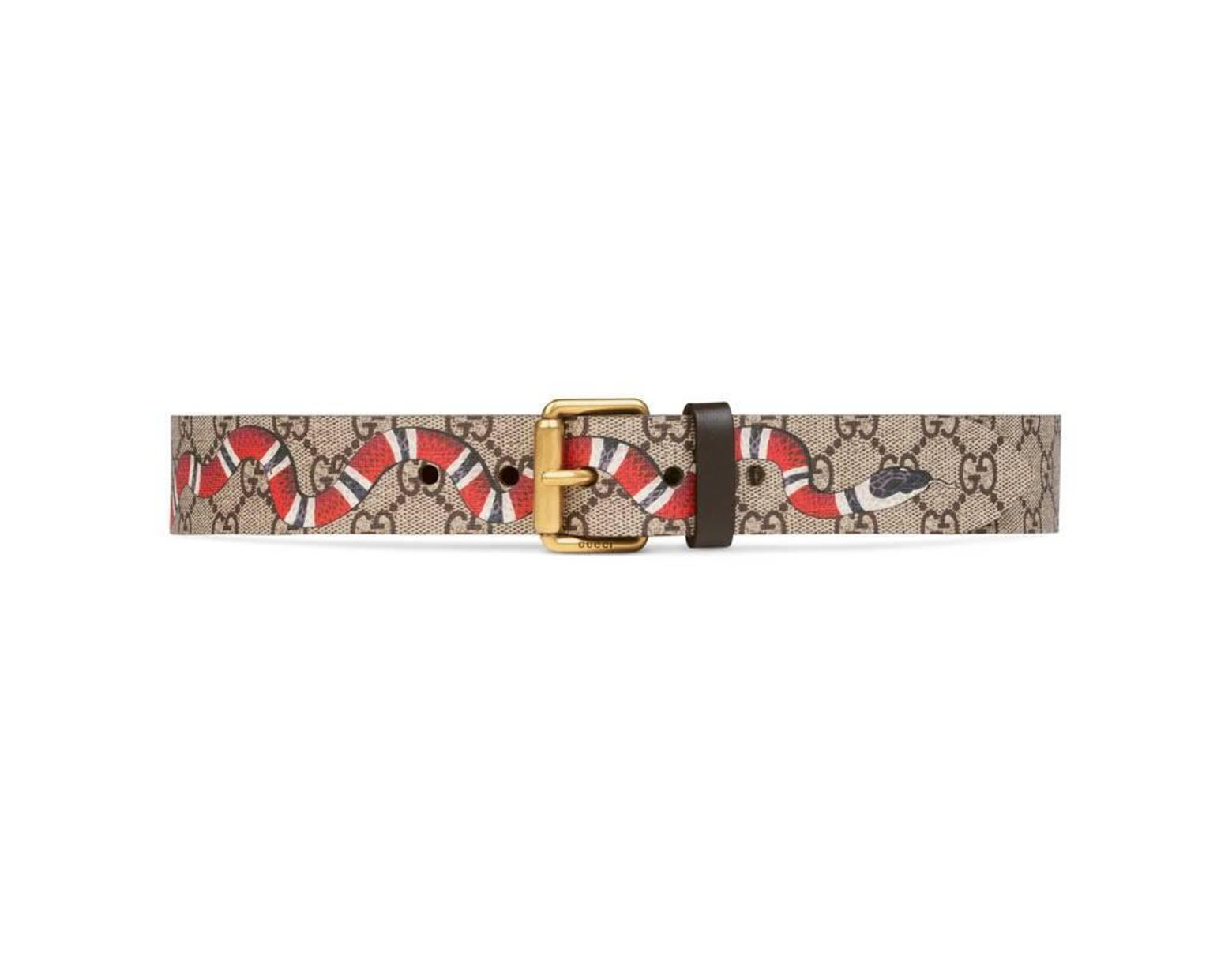 433b11256 Gucci Snake Print Gg Supreme Belt for Men - Save 36% - Lyst