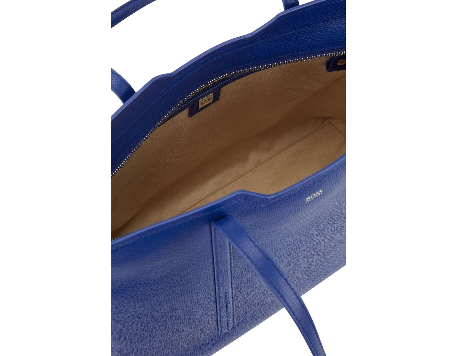 3a10be7abc BOSS Shopper Bag In Grained Italian Leather in Blue - Lyst