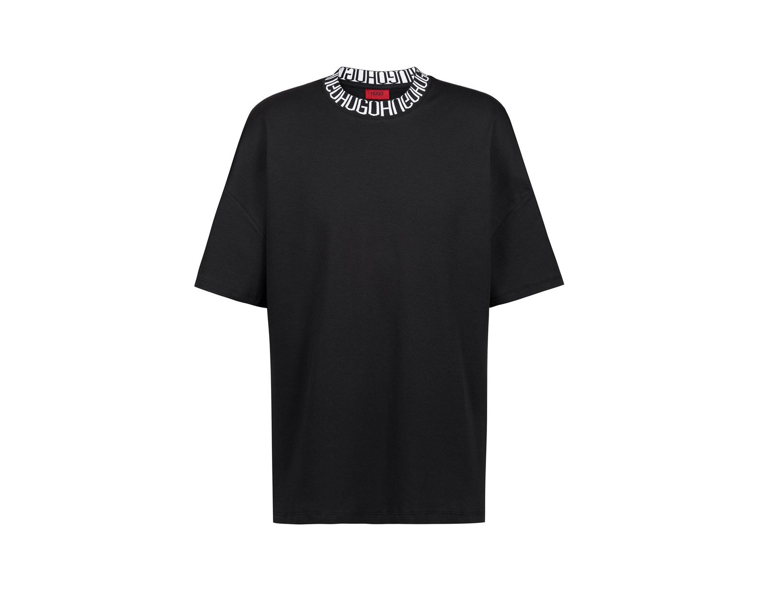 be6de2352 HUGO Oversized-fit T-shirt With Reverse-logo Neckline in Black for Men -  Save 61% - Lyst