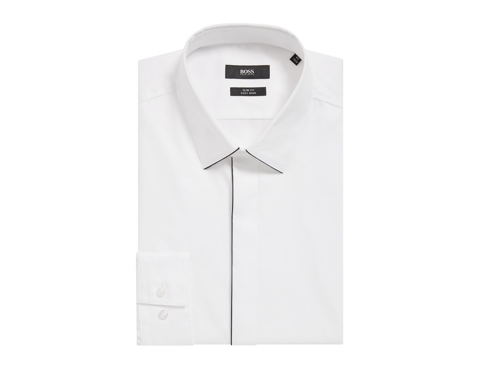 7a0c3399d BOSS Easy-iron Slim-fit Shirt With Contrast Piping in White for Men - Save  30% - Lyst