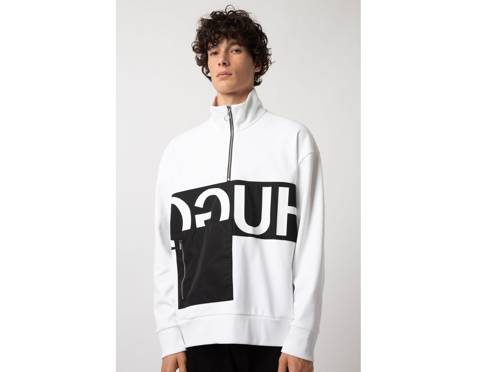 d98f12c4 HUGO Oversized-fit Sweatshirt With Reverse Logo And Patch Pocket in White  for Men - Lyst
