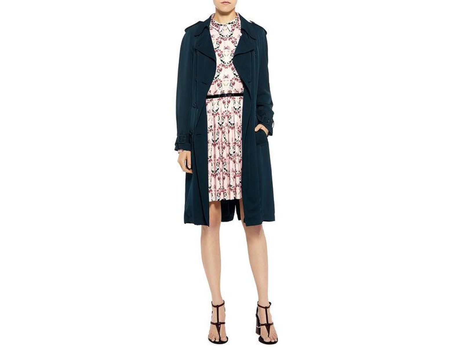 2de0533d8a Theory Laurelwood Silk Trench Coat in Blue - Save 30% - Lyst