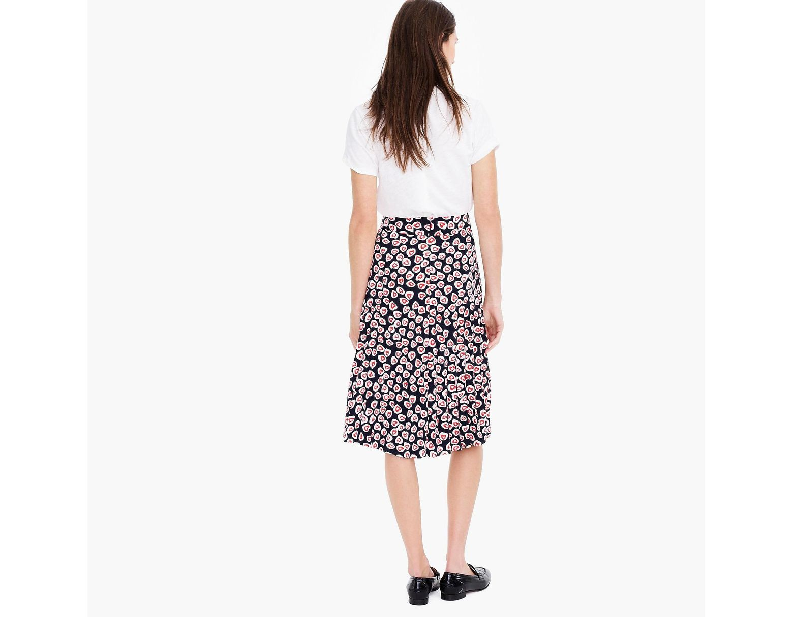 107fa25615 J.Crew Tall Pleated Skirt In 365 Crepe Heart Print - Save 12% - Lyst