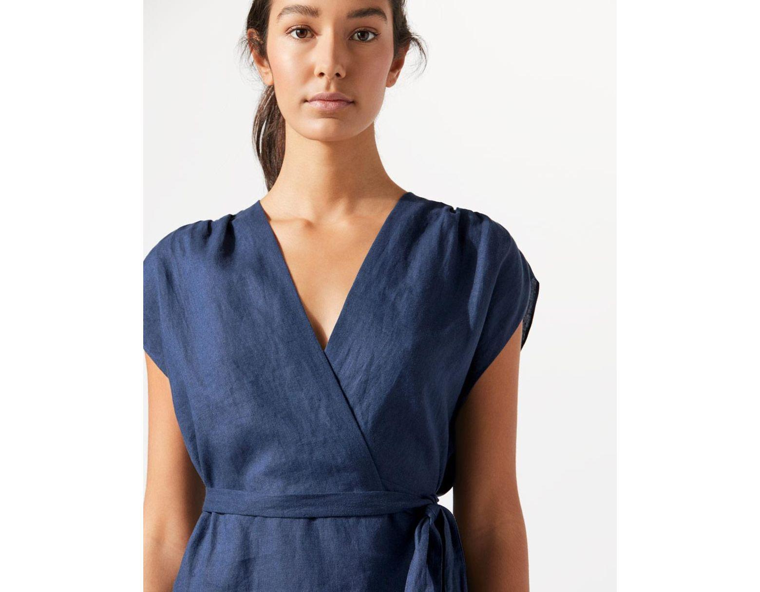 6dd4804d79d Jigsaw Wrap Linen Dress in Blue - Lyst