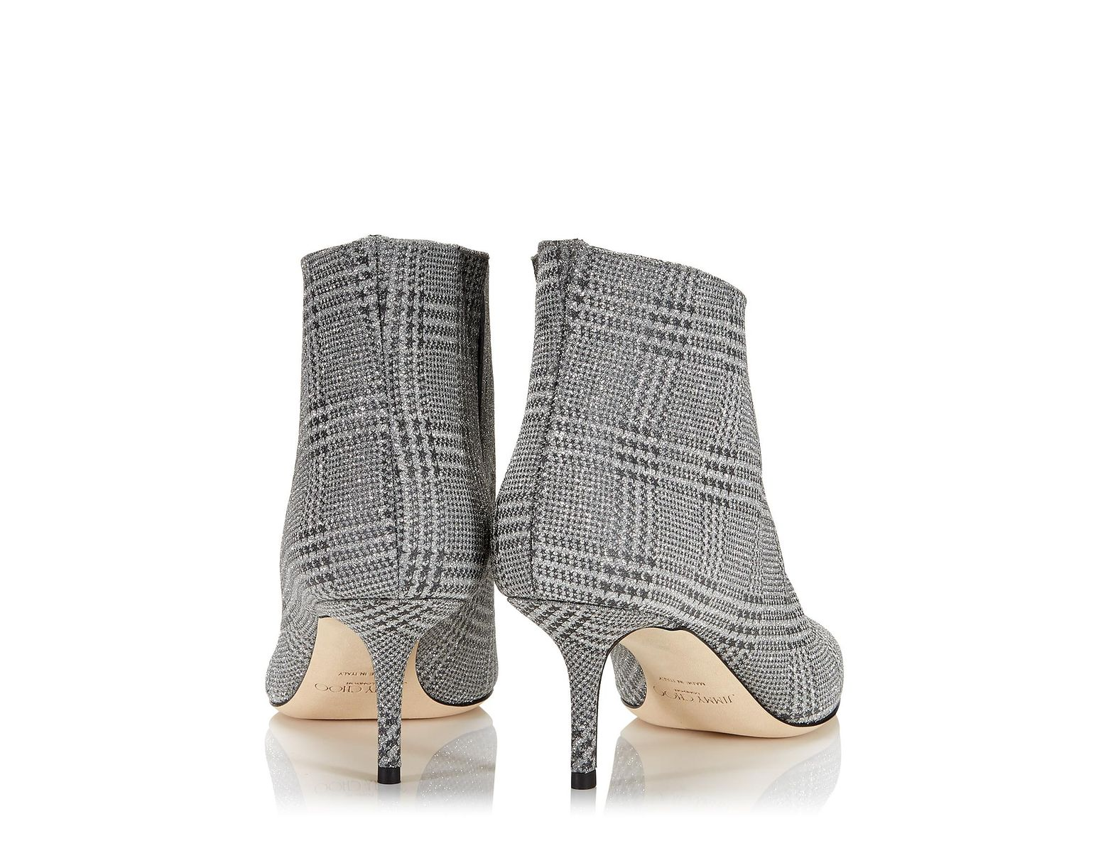 e48311f59983 Jimmy Choo Marinda 65 Glittered Prince Of Wales Checked Leather Ankle Boots  in Metallic - Save 14% - Lyst