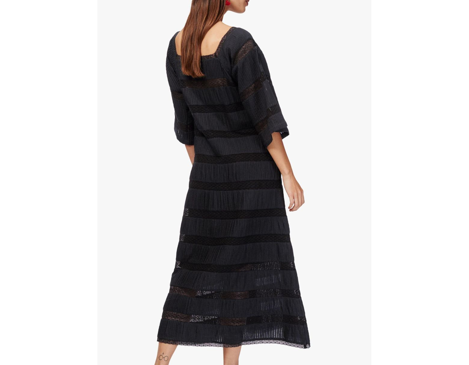 06af70cc1de0c Brora Pin And Lace Cotton Dress in Black - Save 39% - Lyst