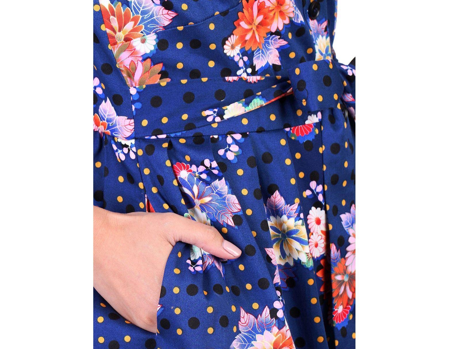 65f83236463 Jolie Moi Floral Spot Print Shirt Dress in Blue - Lyst