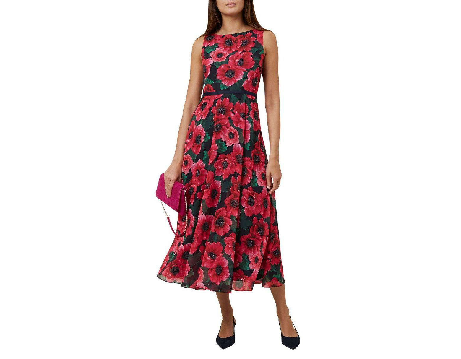 3f04cf40ba13 Hobbs Carly Midi Dress in Red - Lyst