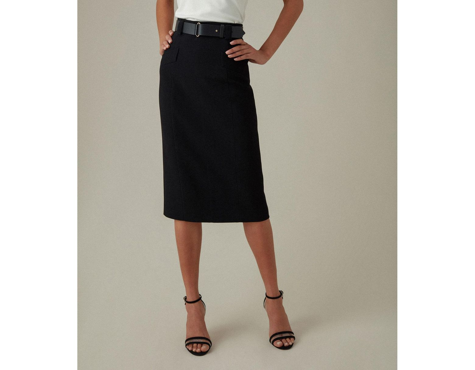 51bb0b2dde Karen Millen Leather Belt Pencil Skirt in Black - Save 17% - Lyst