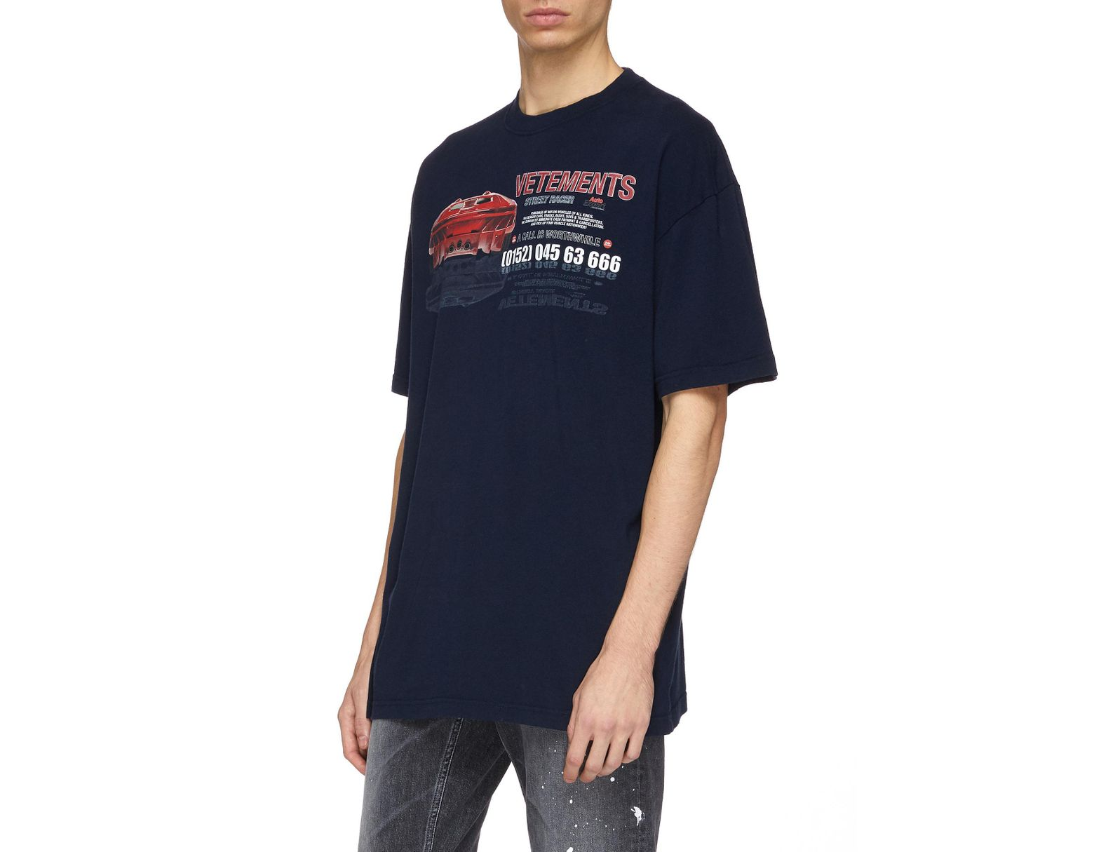 016646ec Vetements 'car Hotline' Slogan Graphic Print Oversized Unisex T-shirt in  Blue for Men - Save 19% - Lyst
