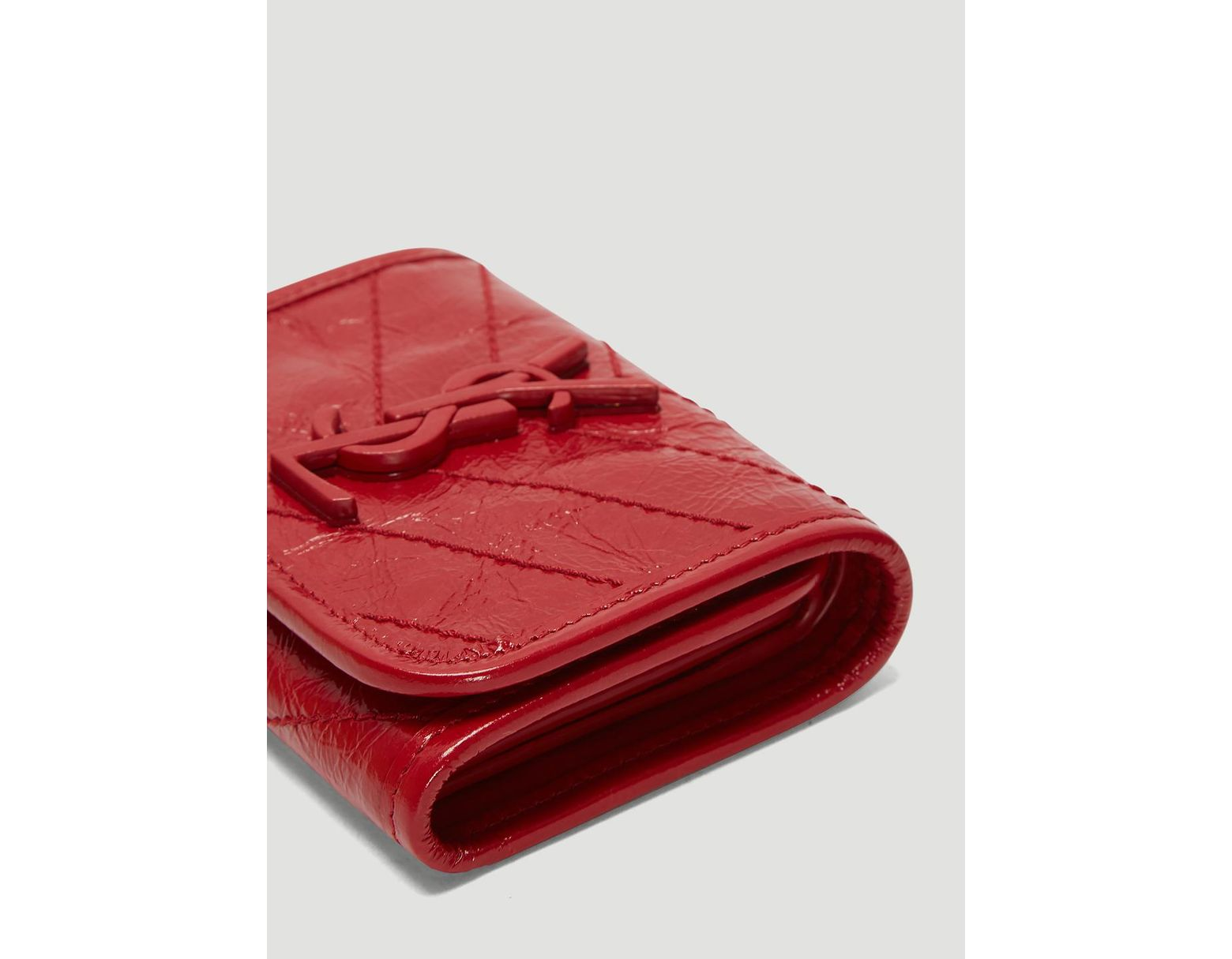 9cc55a302d Saint Laurent Niki Compact Crinkled Vintage Leather Wallet In Red in ...