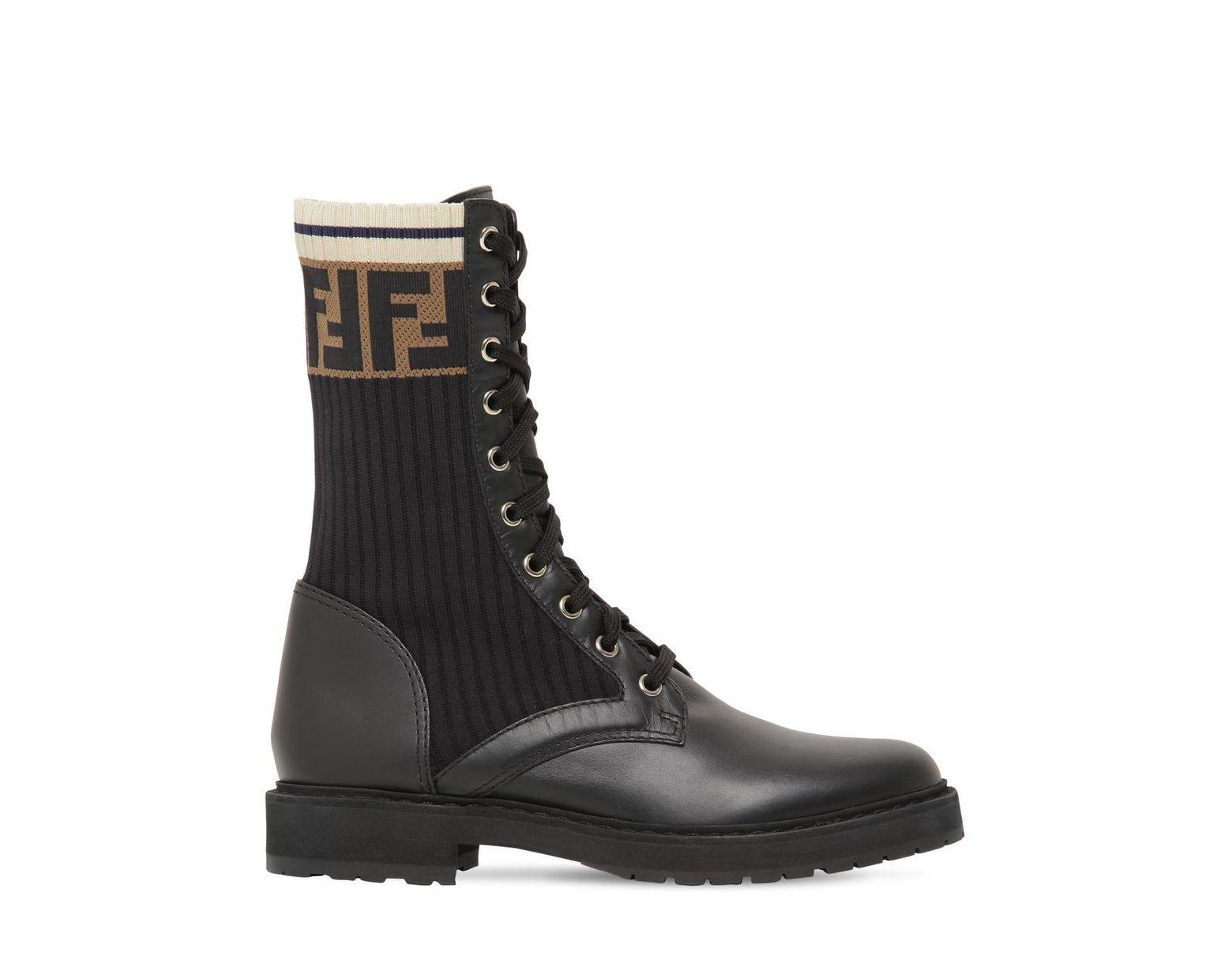 9f7f3f6b230f3 Fendi 20mm Ff Leather & Rib Knit Combat Boots in Black - Save 29% - Lyst