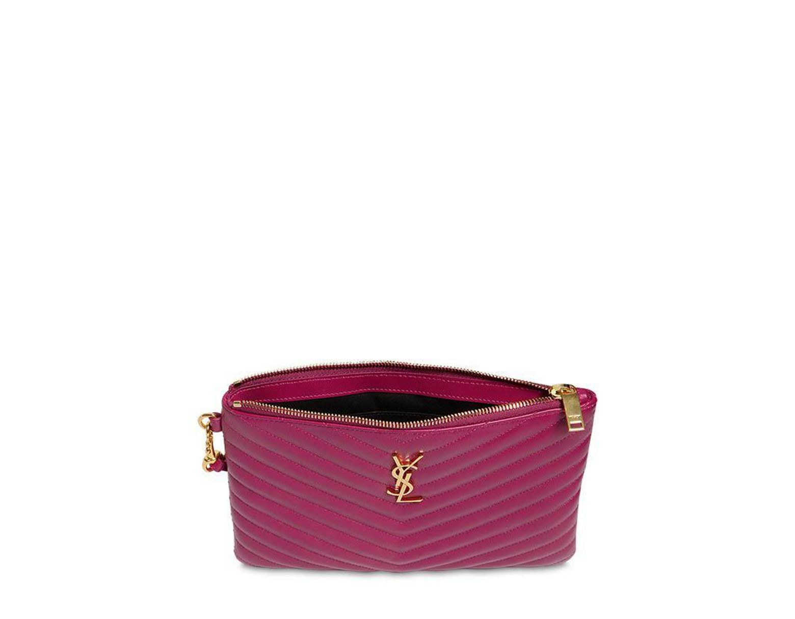 a15c7da715 Lyst - Saint Laurent Monogram Quilted Leather Pouch in Purple