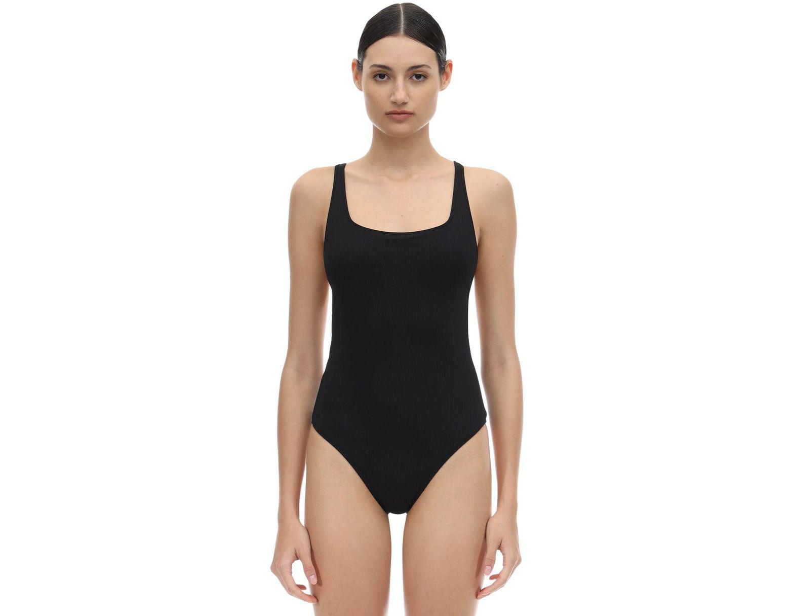 f818587e27de7 Ganni Back Crossed Textured One Piece Swimsuit in Black - Lyst