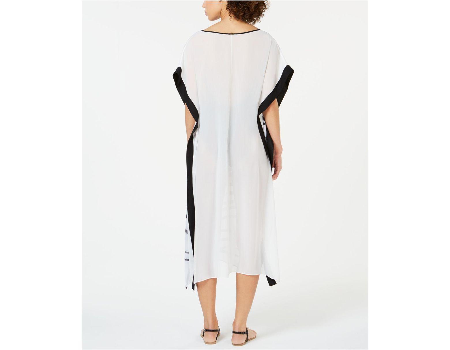 900b4349b4 Calvin Klein Printed Kaftan Cover-up in White - Lyst