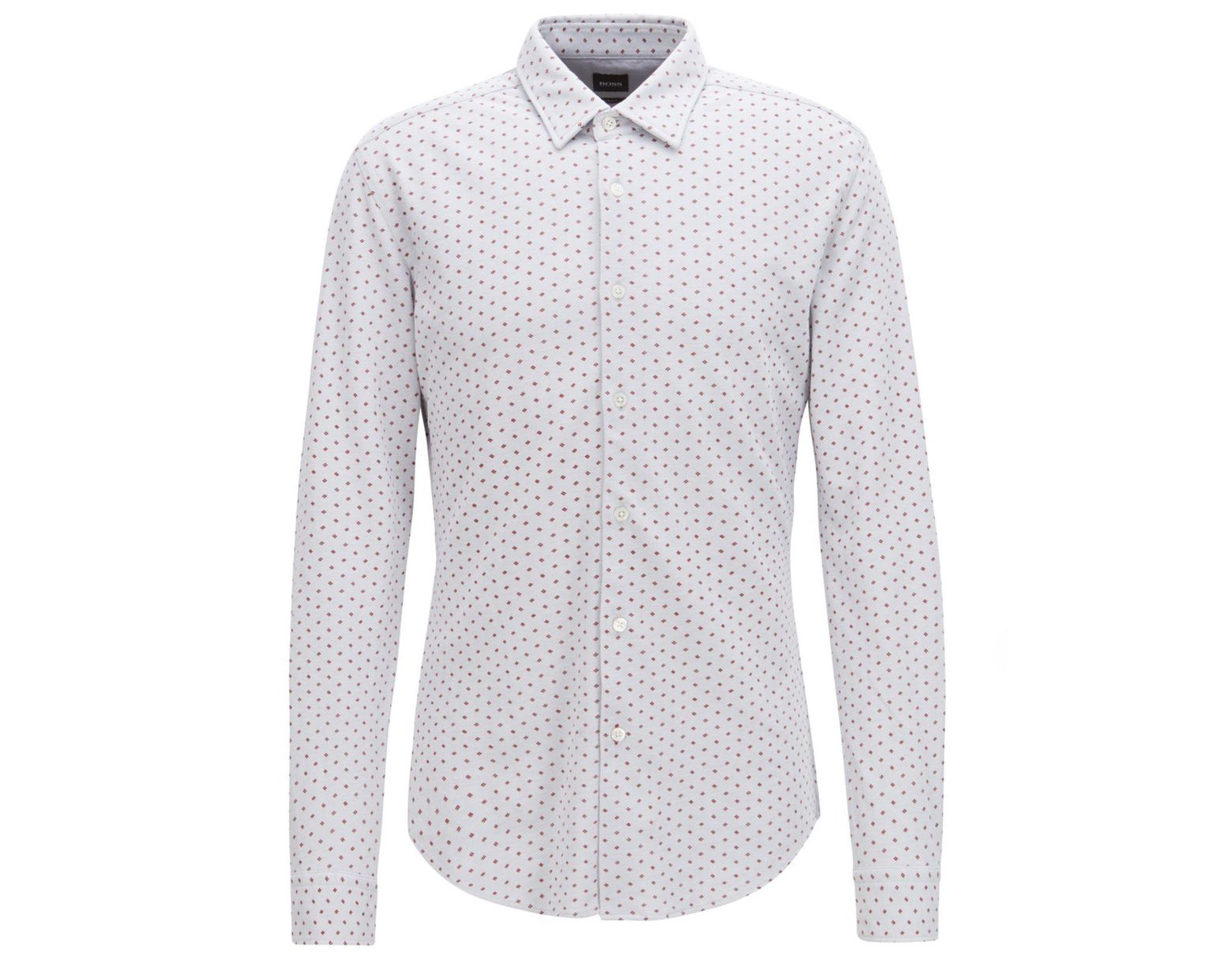 d081200bd BOSS Slim-fit Shirt In Jersey Piqué With Exclusive Pattern in Metallic for  Men - Save 20% - Lyst
