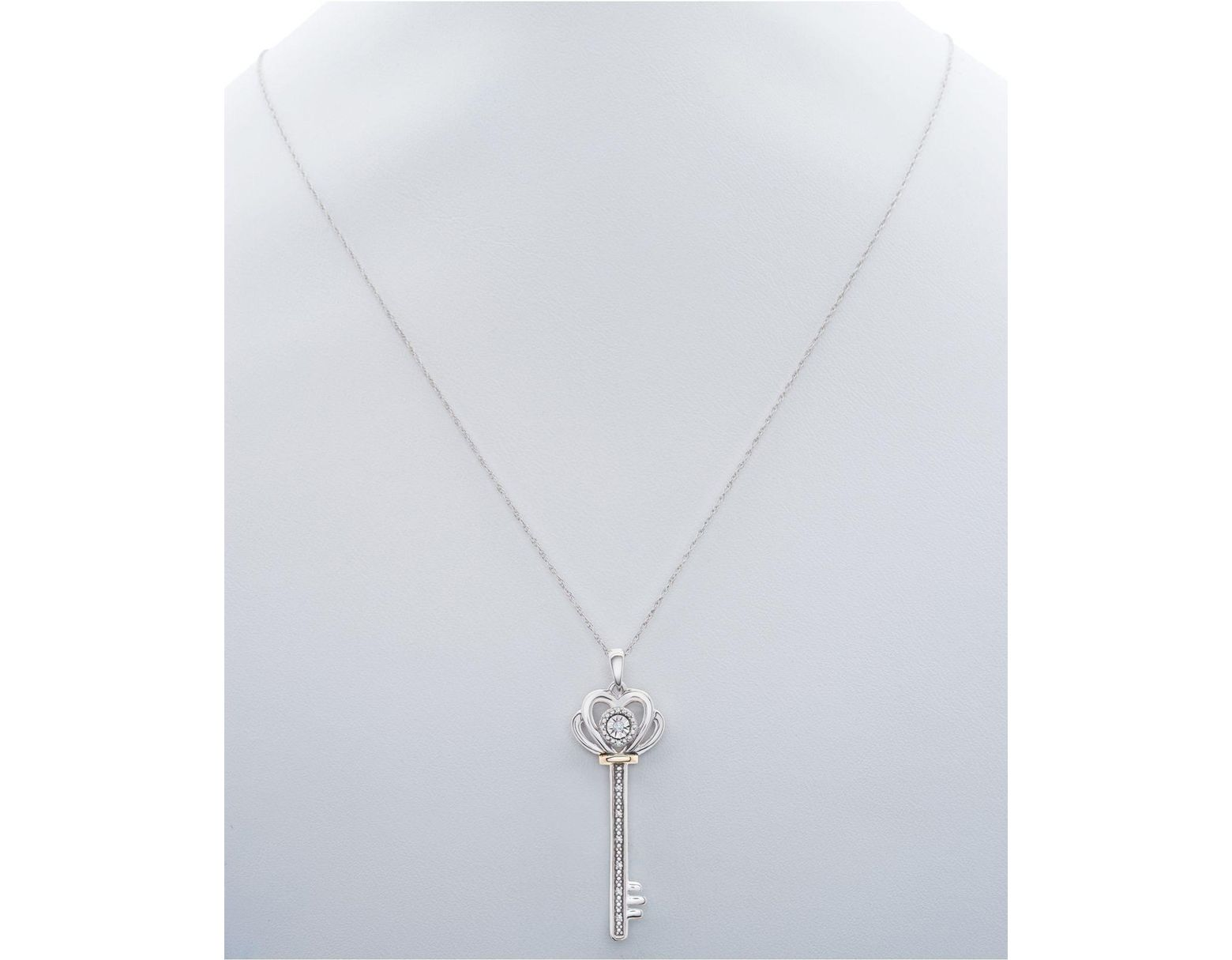 e0db6474f48bb9 Macy's Diamond Accent Two-tone Key Pendant Necklace In Sterling Silver &  10k Gold in Metallic - Save 76% - Lyst